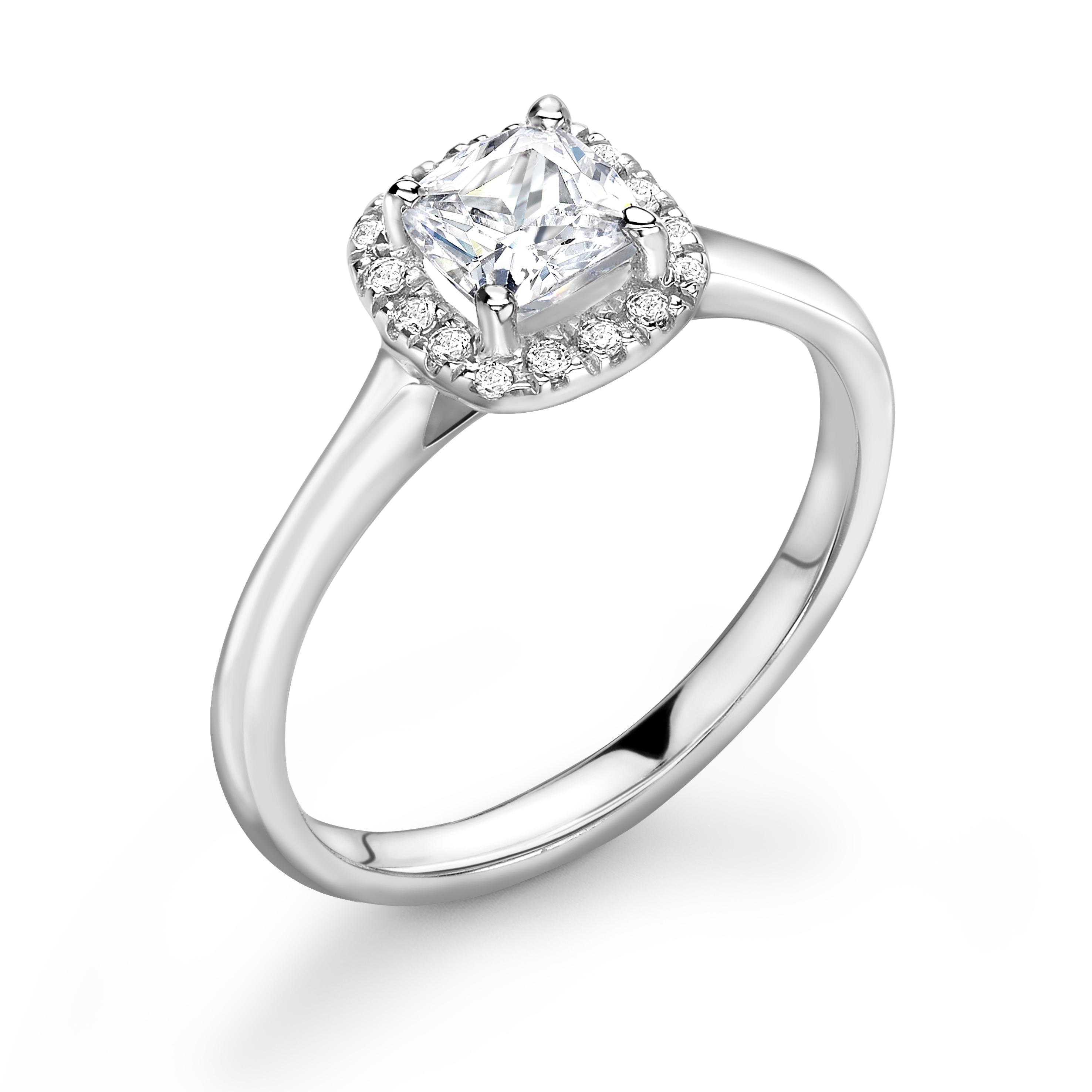 Prong Setting Princess Shape Plain Shoulder Halo Diamond Engagement Rings