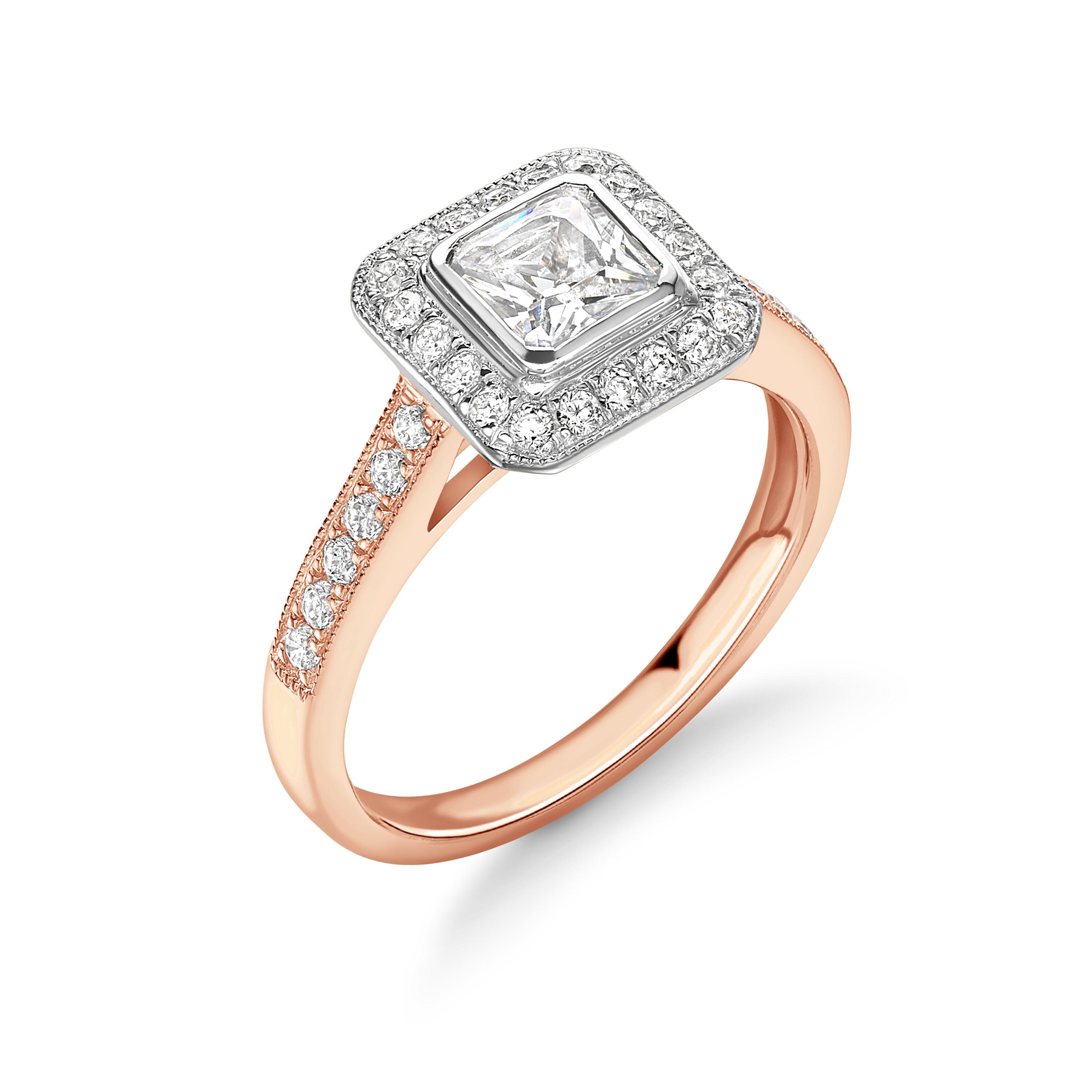 Bezel Setting Asshcer Shape Pave Setting Milligraing Halo Diamond Engagement Rings