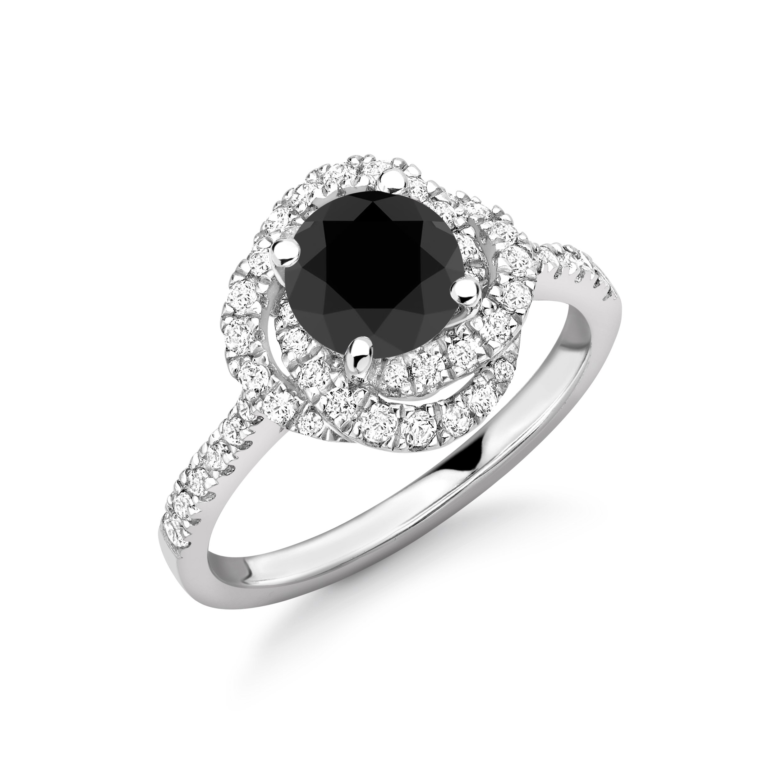 Modern Style Cross Over Halo Engagement Black Diamond Rings