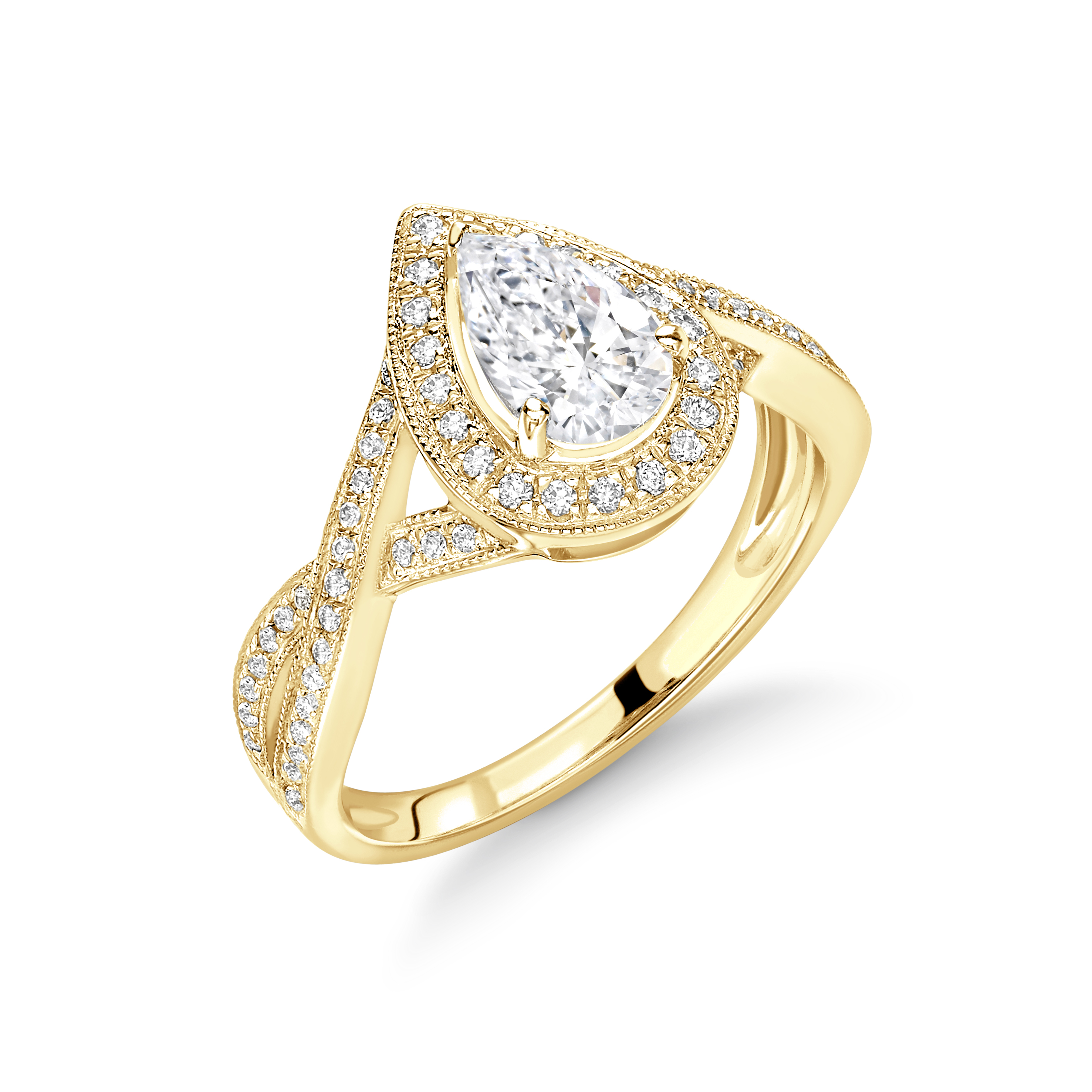 Prong Setting Pear Shape Cross Over Shoulder with Miligrain Halo Diamond Engagement Rings