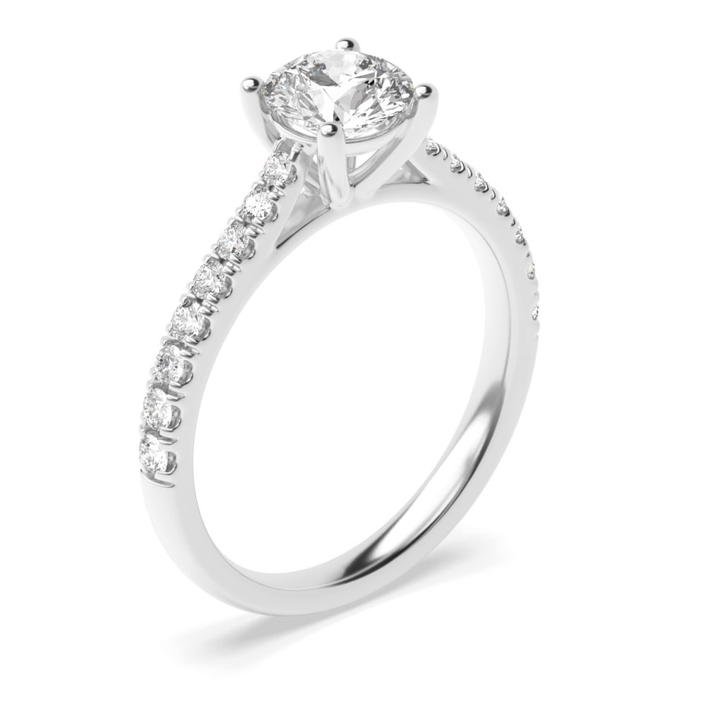 Popular Style Side Stone Diamond Engagement Rings