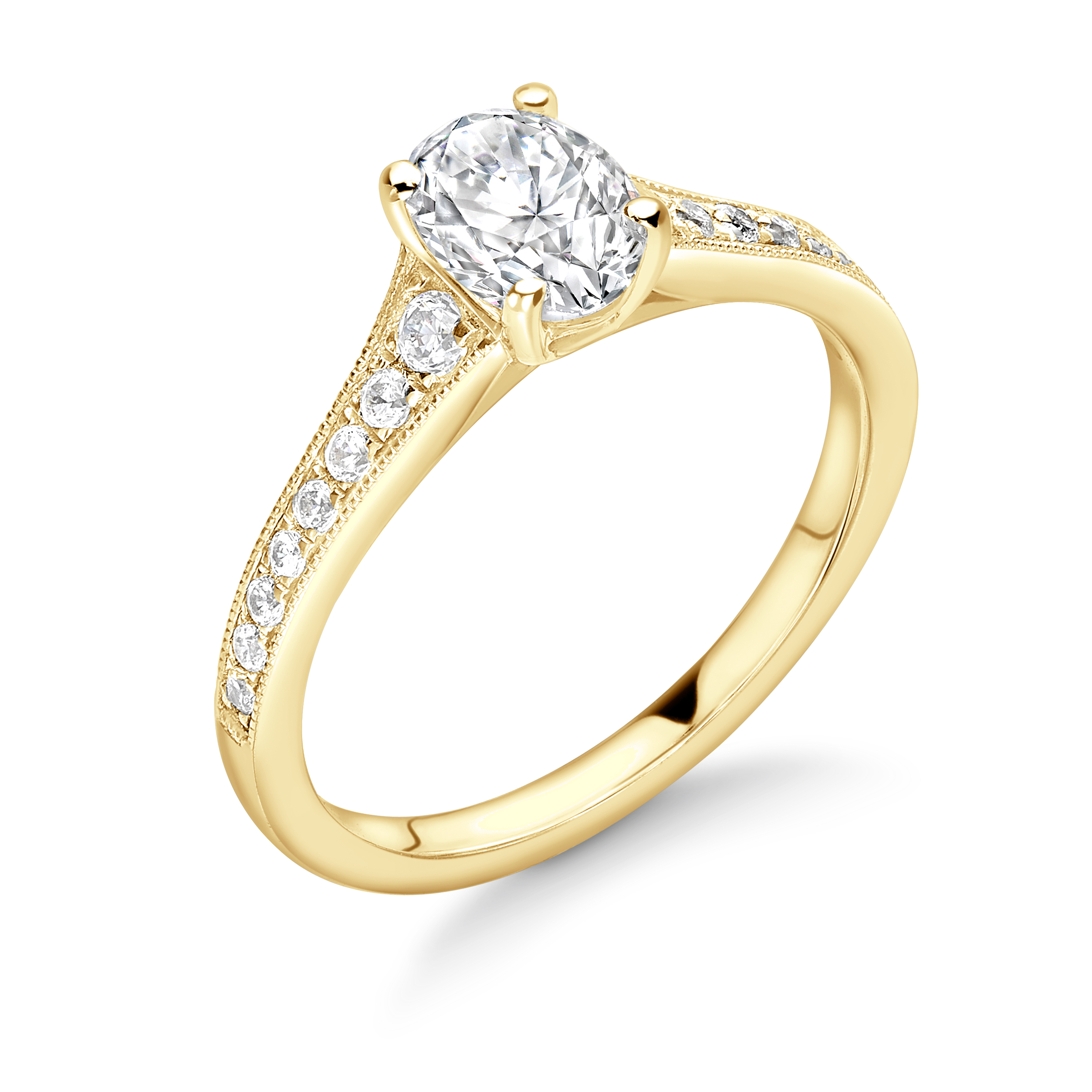 Oval Shape Tapering Up Shoulder with Milligrain Edge Diamond Engagement Ring