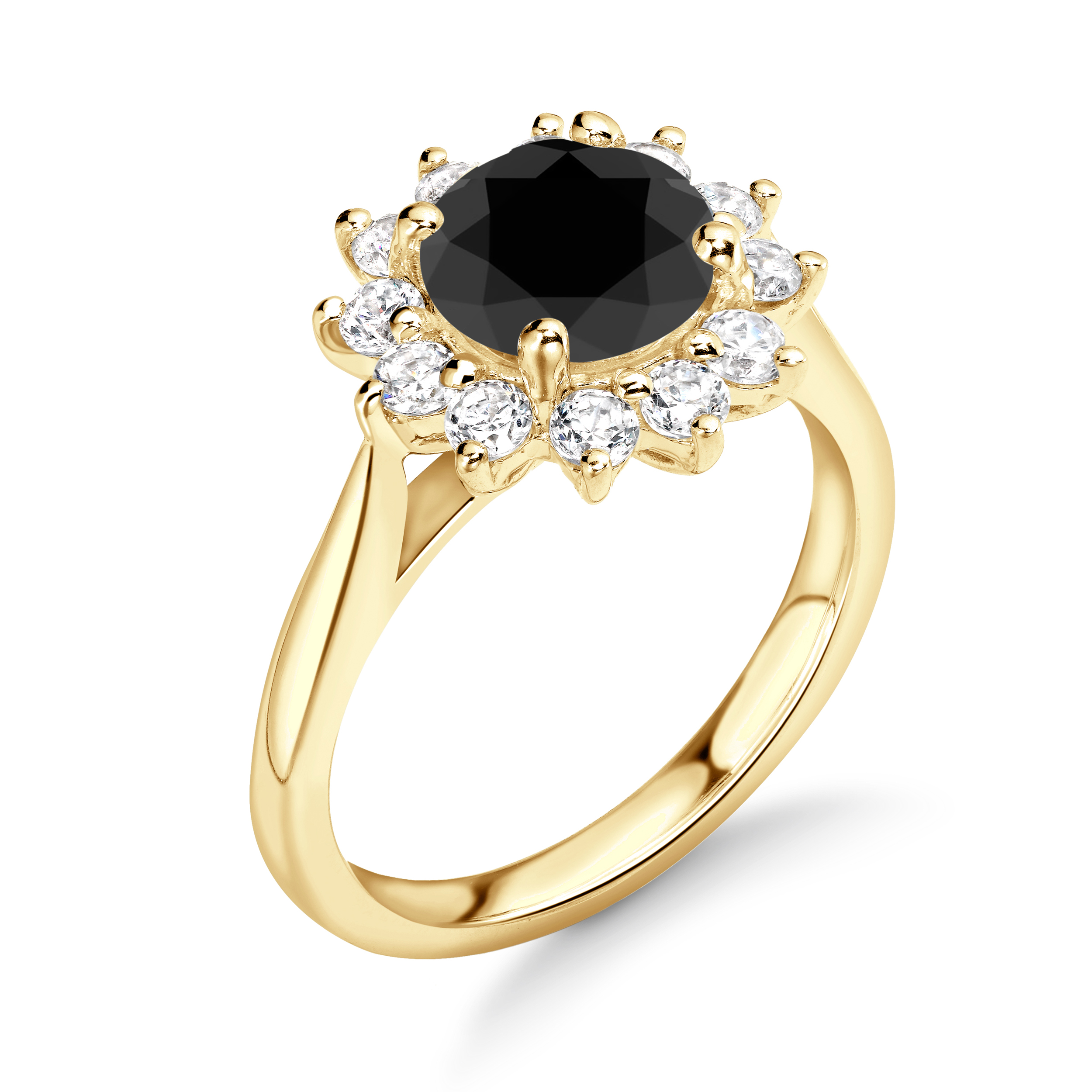 Luxurious Flower Style Halo Engagement Black Diamond Rings