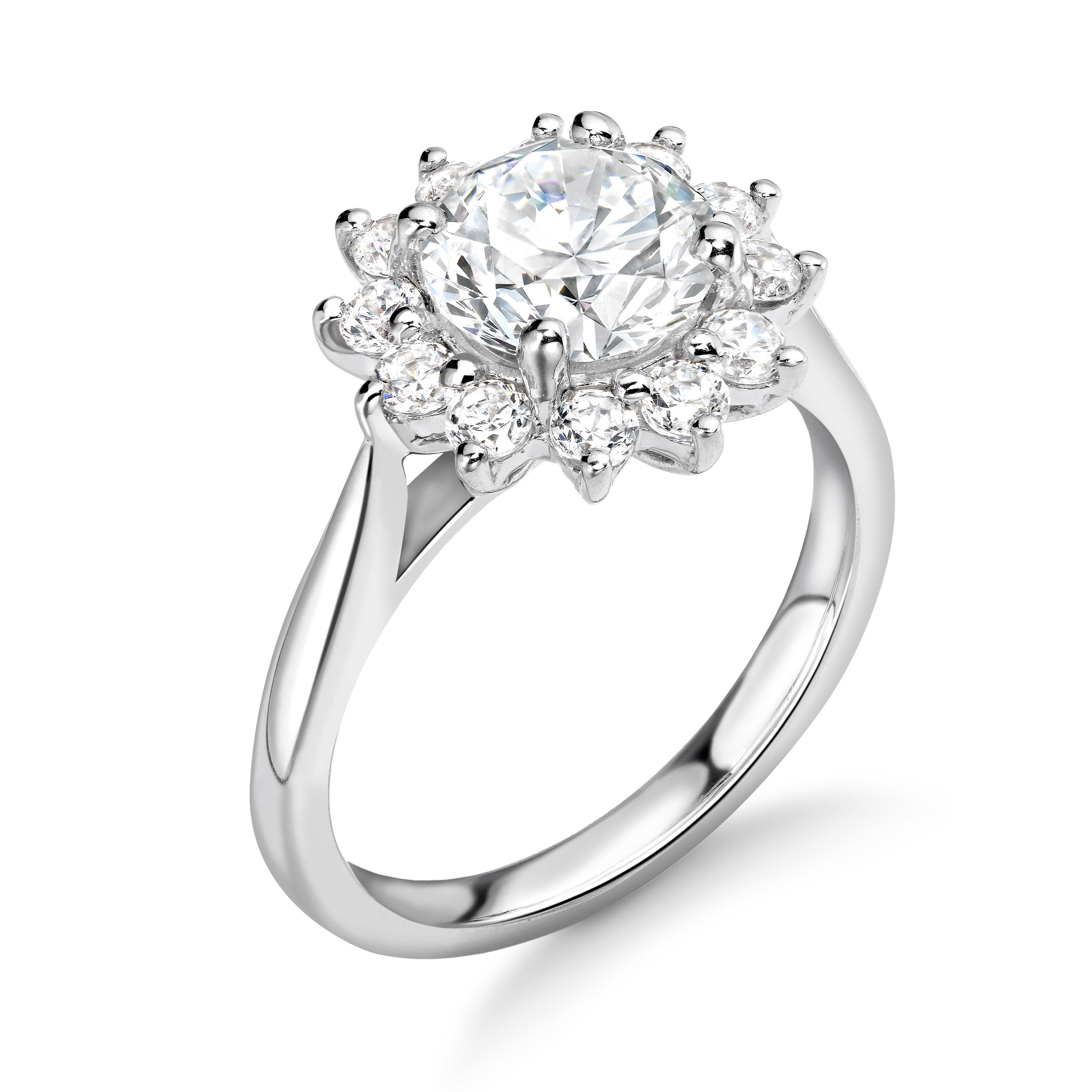 Prong Setting Round Shape Larger Diamond on Halo Diamond Engagement Rings