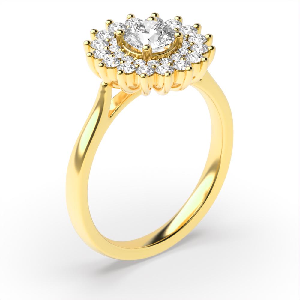 Prong Setting Round Shape 2 Raw Flower Halo Diamond Engagement Rings