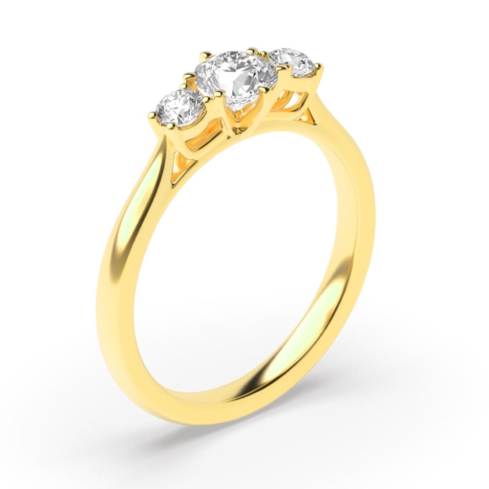 Unique Round Cut Diamond Trilogy Engagement Rings for Women