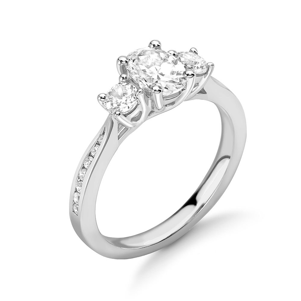 Oval and Round Diamond Trilogy Engagement Rings with Diamonds on Shoulder