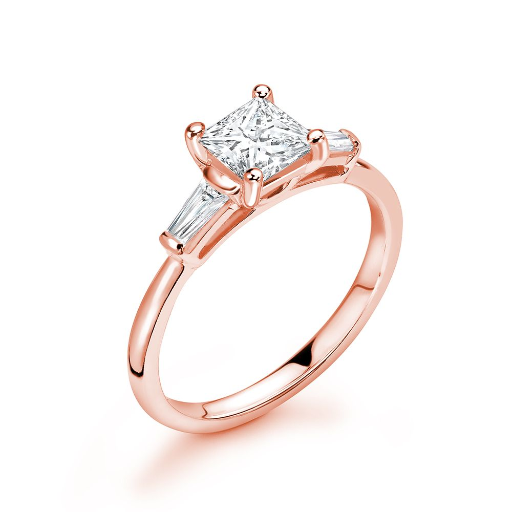 Princess & Tappered Baguette Diamond Trilogy Engagement Rings