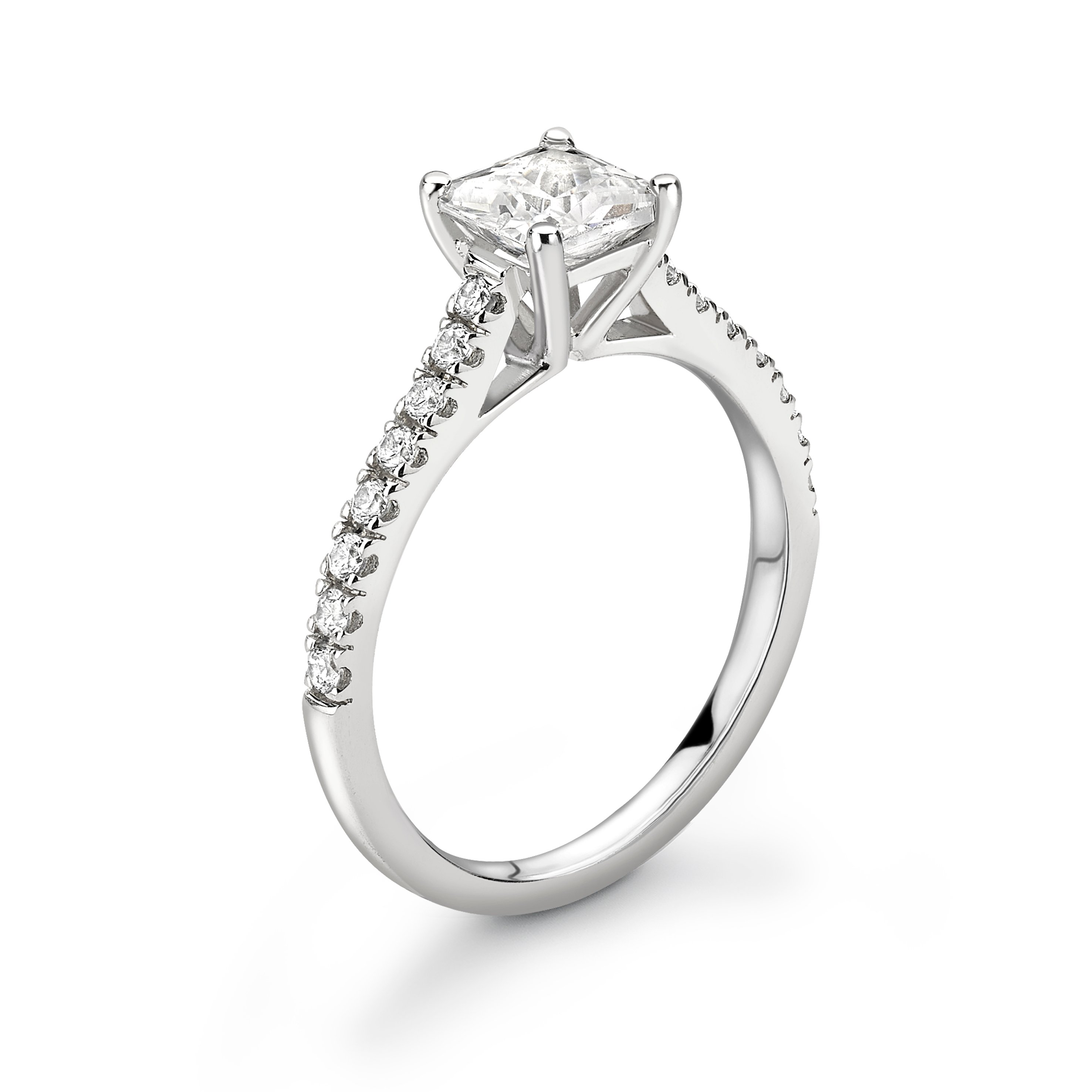 Elegant Open Setting Diamond Set Shoulder Engagement Ring