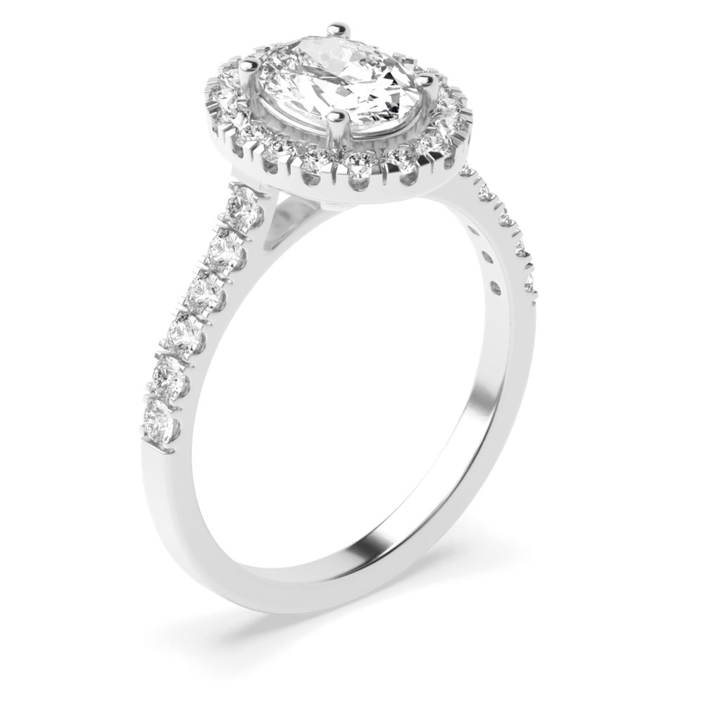 Prong Setting Oval Shape Minimal Halo Diamond Engagement Rings