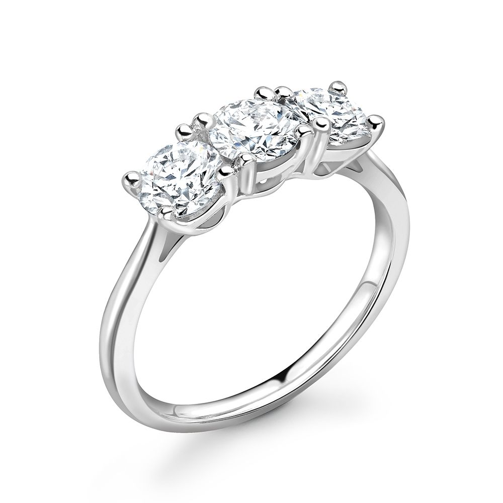 4 Prong Delicate Round Cut Diamond Trilogy Engagement Rings ABELINI