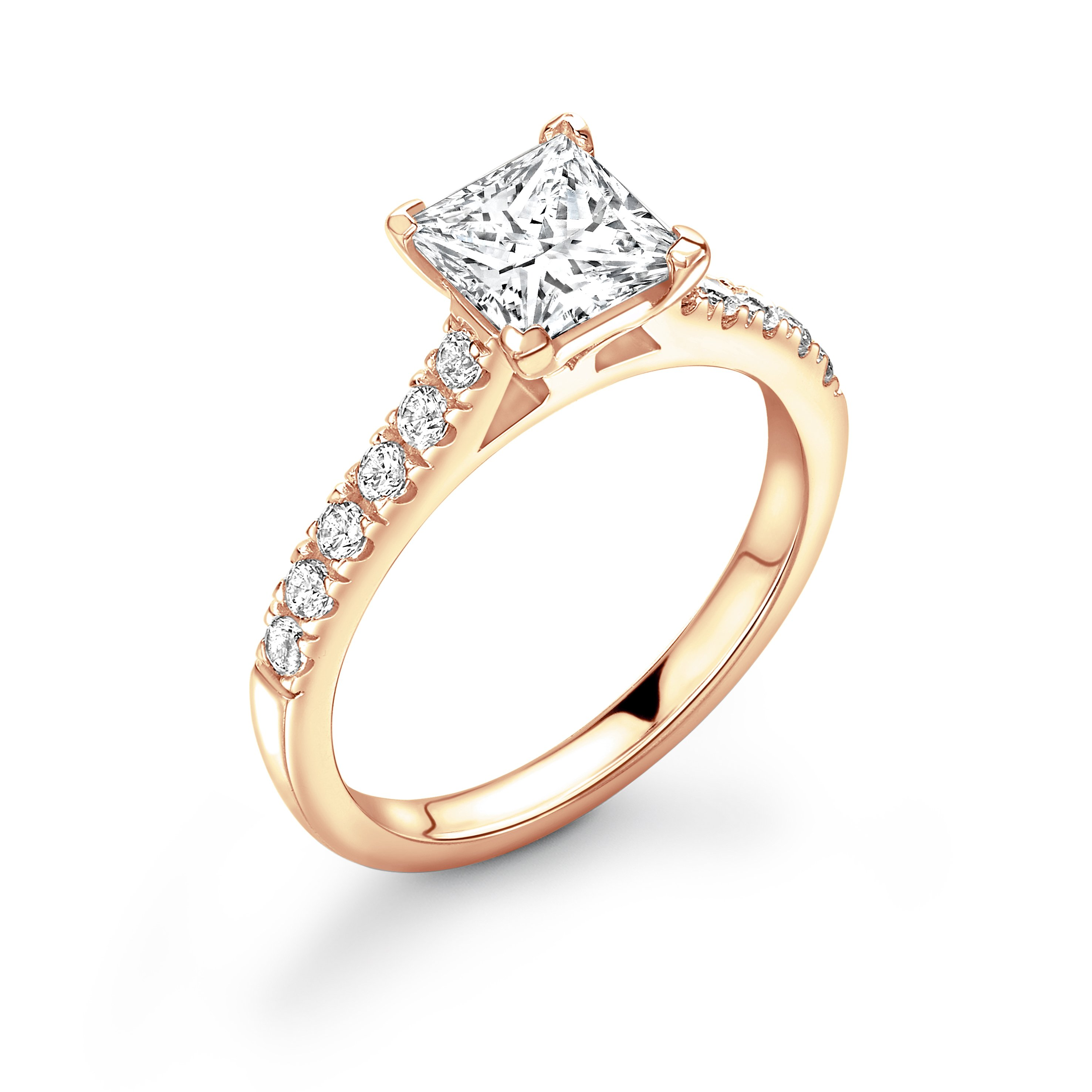 Corner Claw Setting Princess Diamond Side Stone Engagement Ring