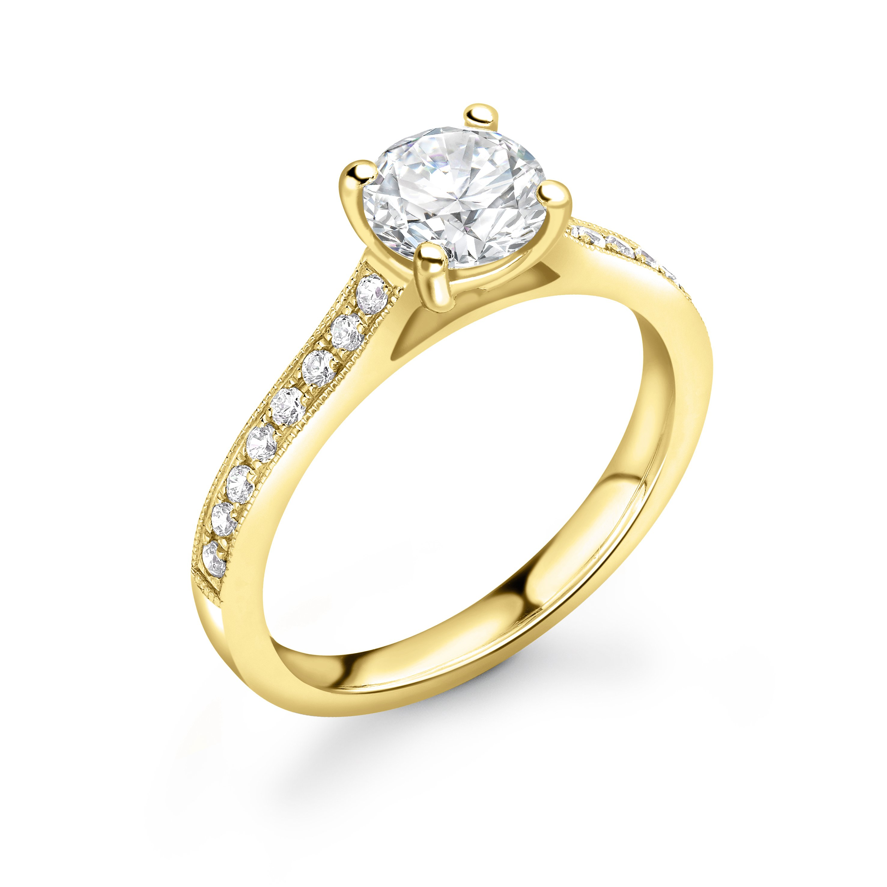 Miligrain Edge Shoulder Classic Side Stone Diamond Engagement Rings
