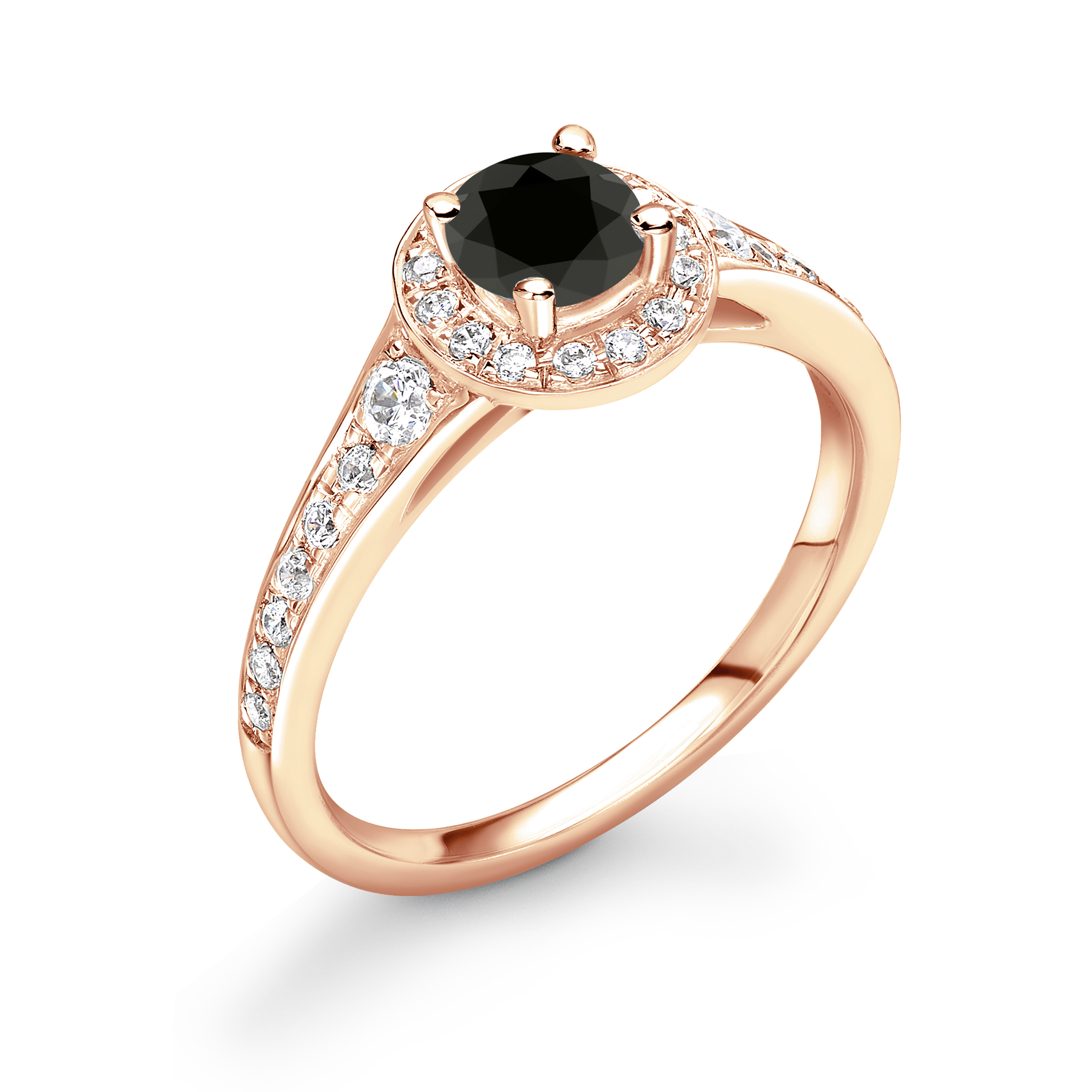 Tapering Up Shoulder Halo Engagement Black Diamond Rings