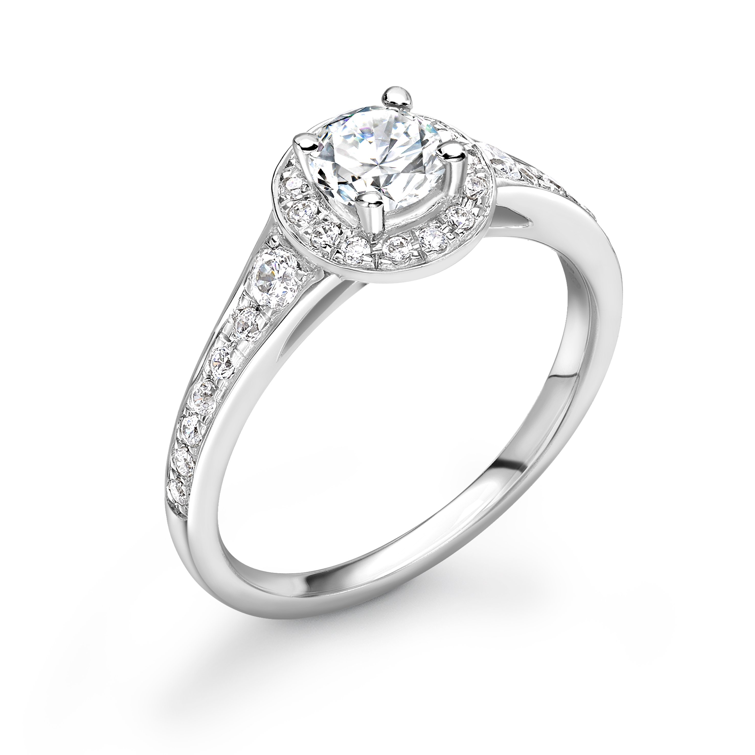 4 Prong Setting Round Shape Tapering Up Shoulder Halo Diamond Engagement Rings