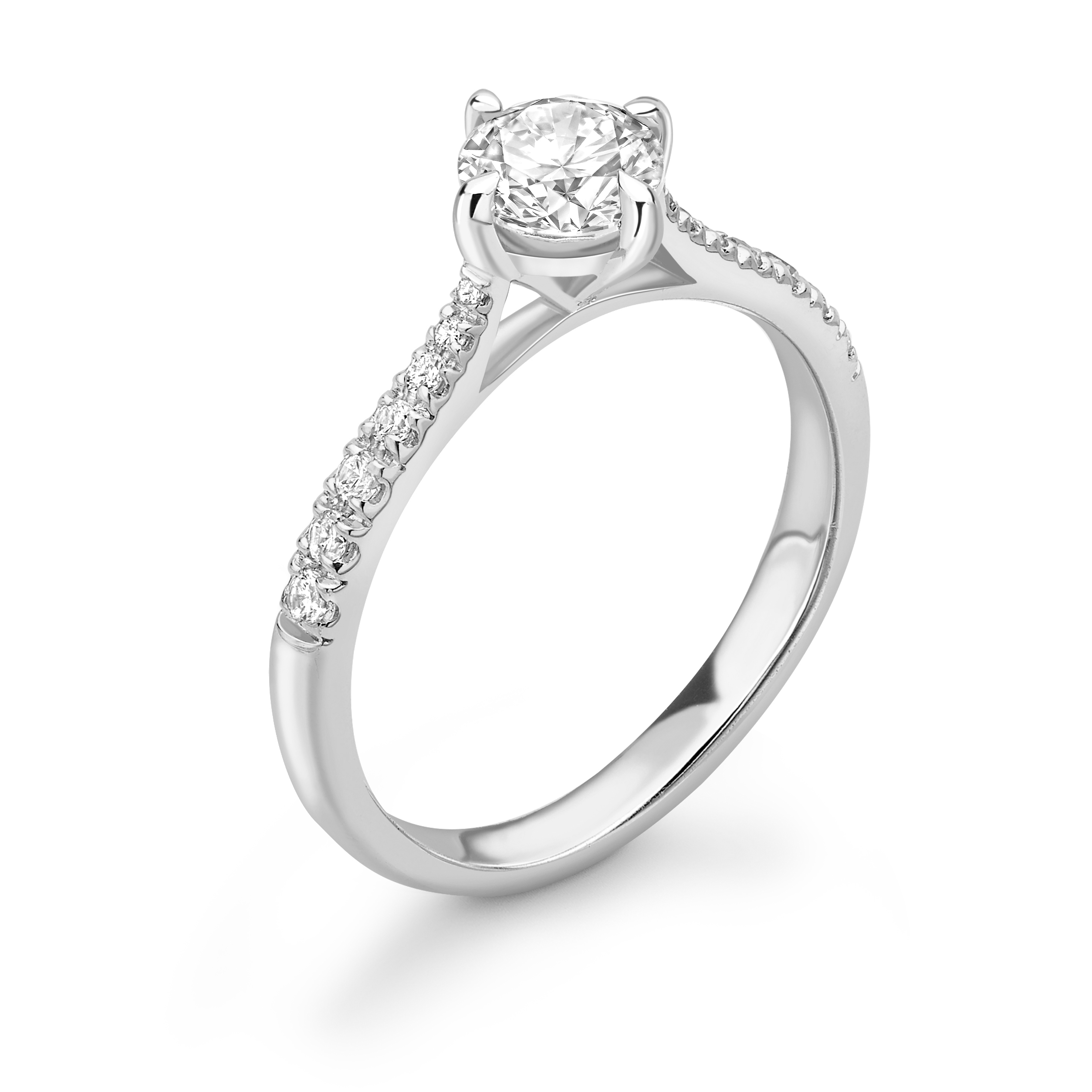 N-W-E-S Setting Tappering Shoulder Side Stone Diamond Engagement Rings