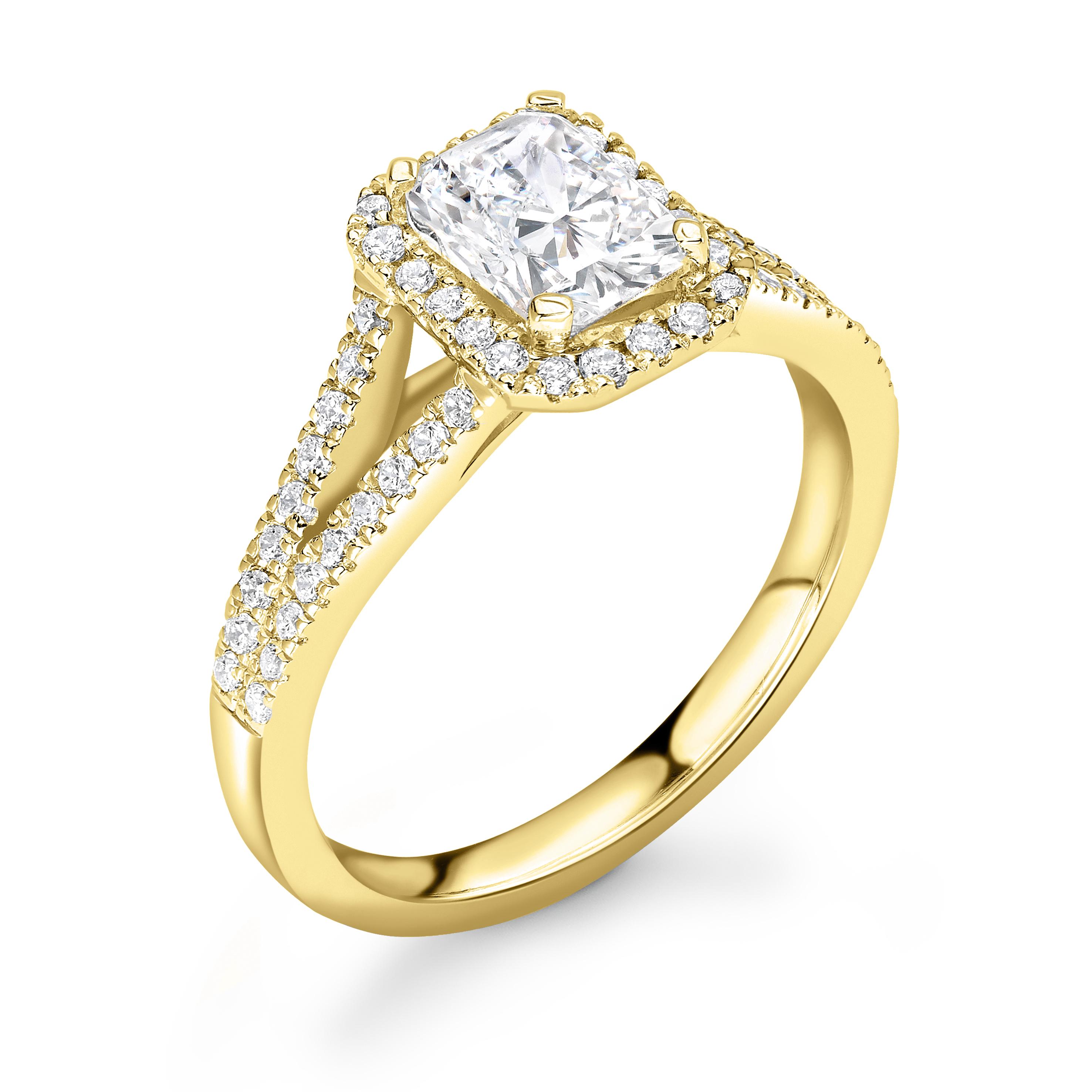 4 Prong Setting Radiant Shape 2 Raw Shoulder Halo Diamond Engagement Rings