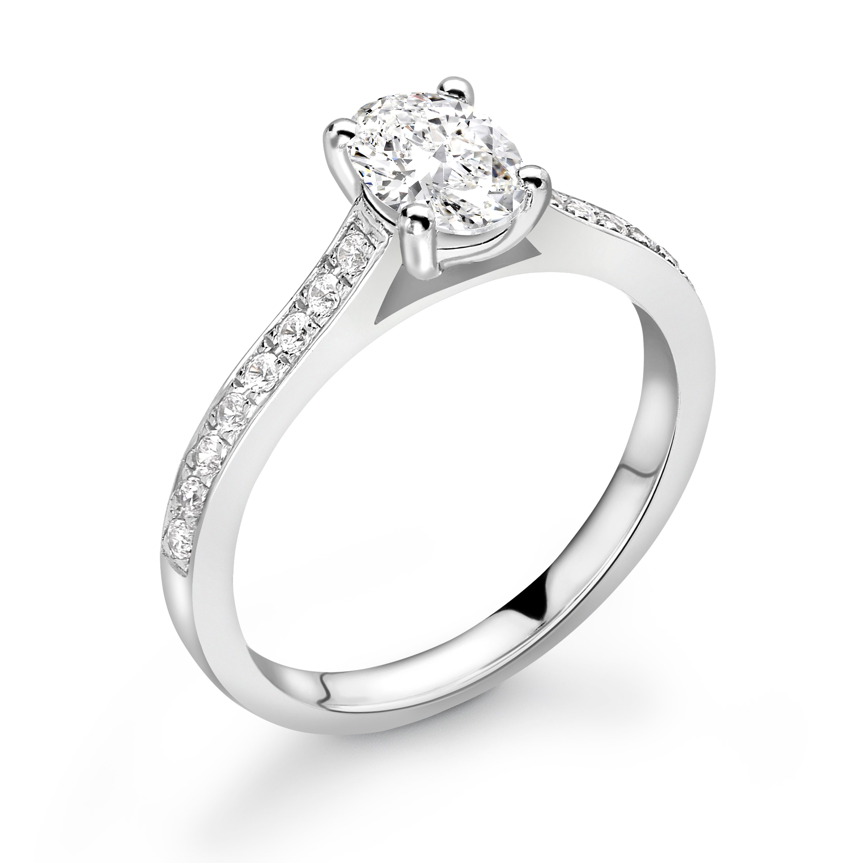 Delicate Oval Shape Pave Setting Shoulder Diamond Engagement Ring