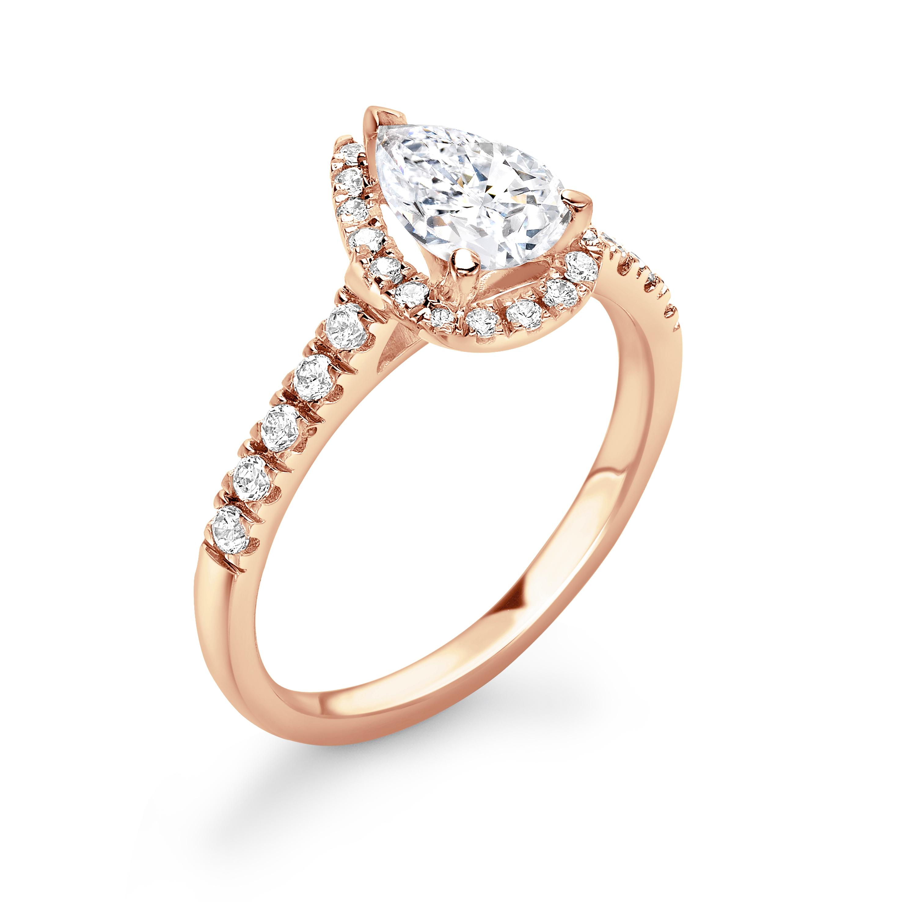 4 Prong Setting Pear Shape U Prong Set Halo Diamond Engagement Rings