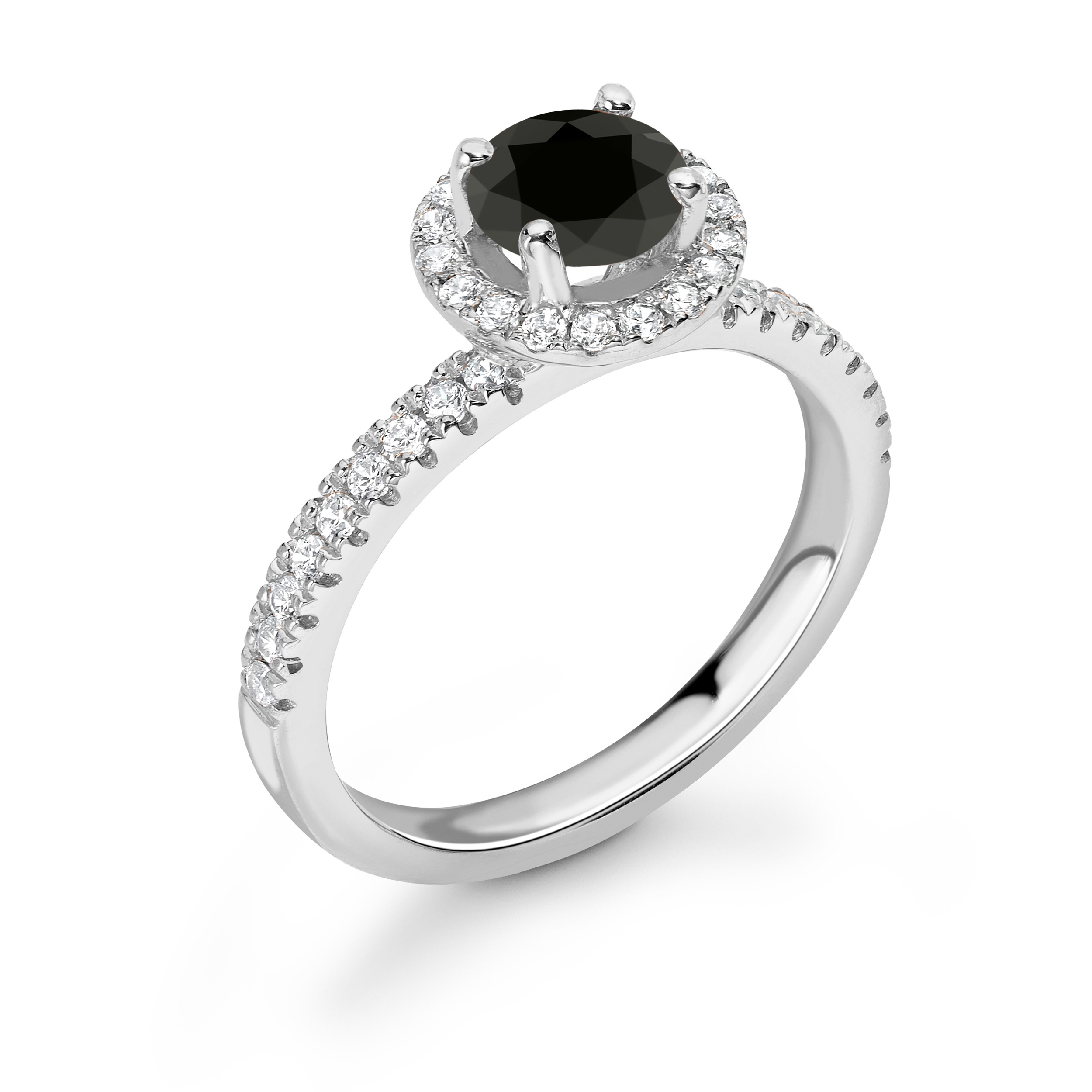 Petit U Prong Set Halo & Shoulder Set Black Diamond Rings