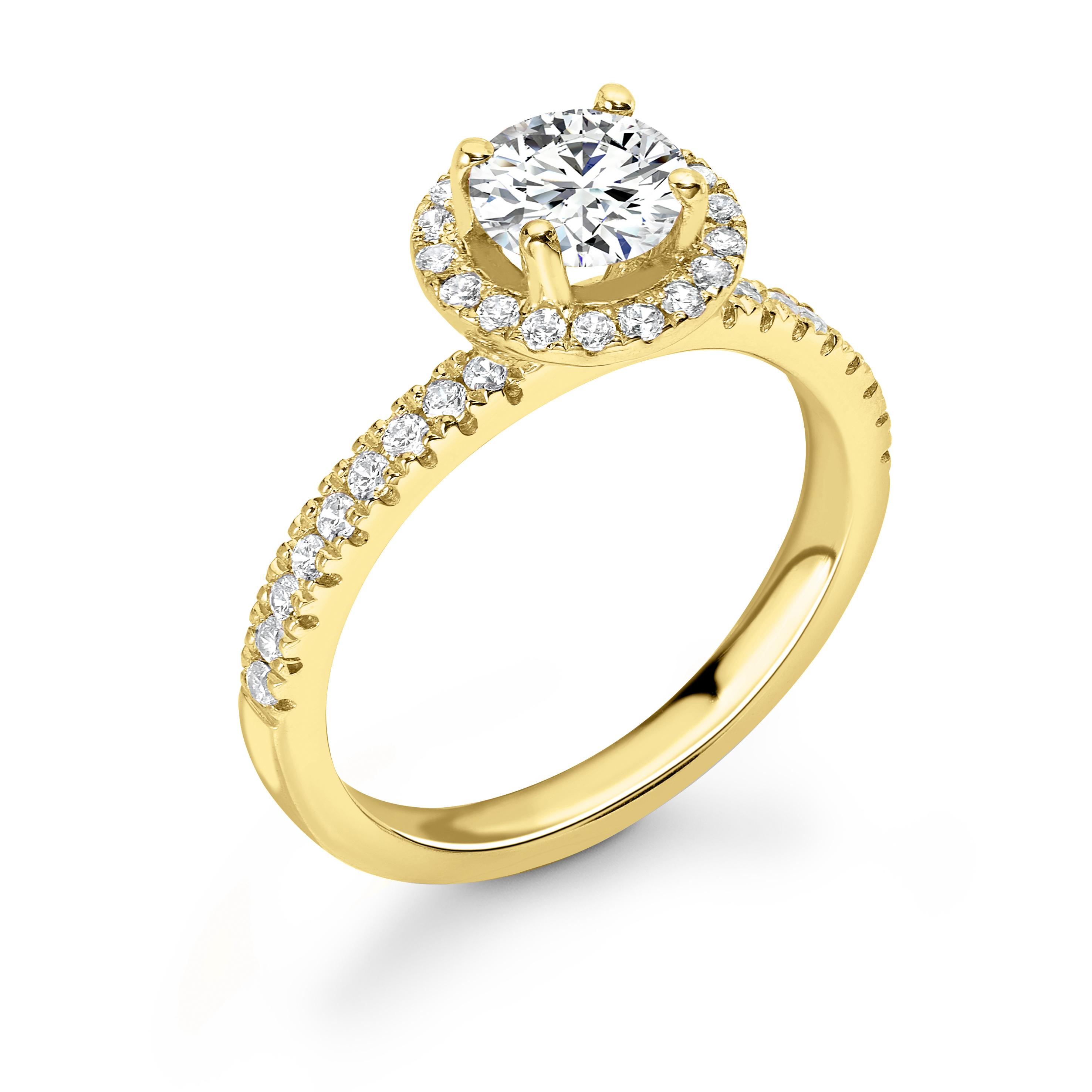 4 Prong Setting Round Shape U Prong Set Halo Diamond Engagement Rings