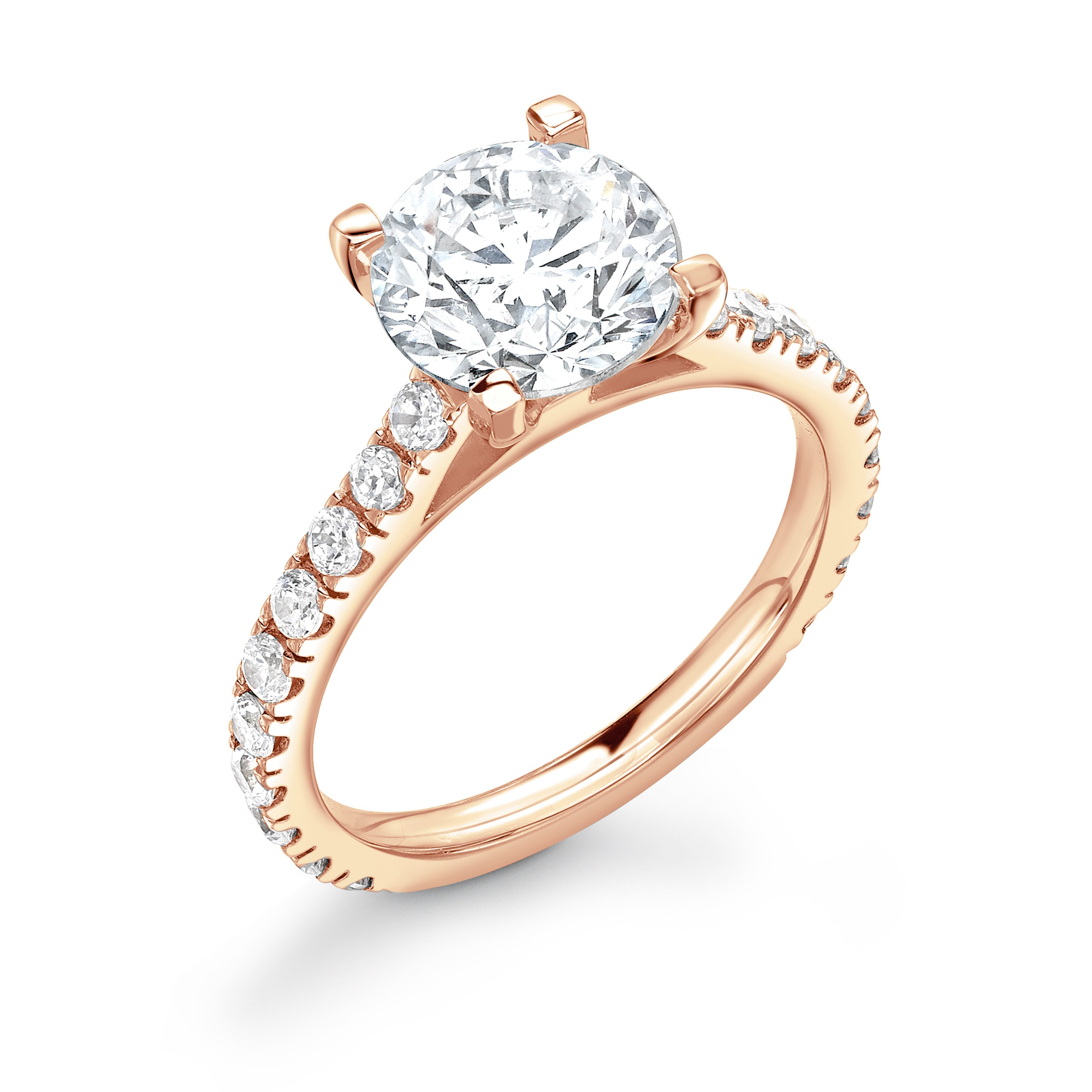 3/4 Diamond Set Shoulder Side Stone Diamond Engagement Ring