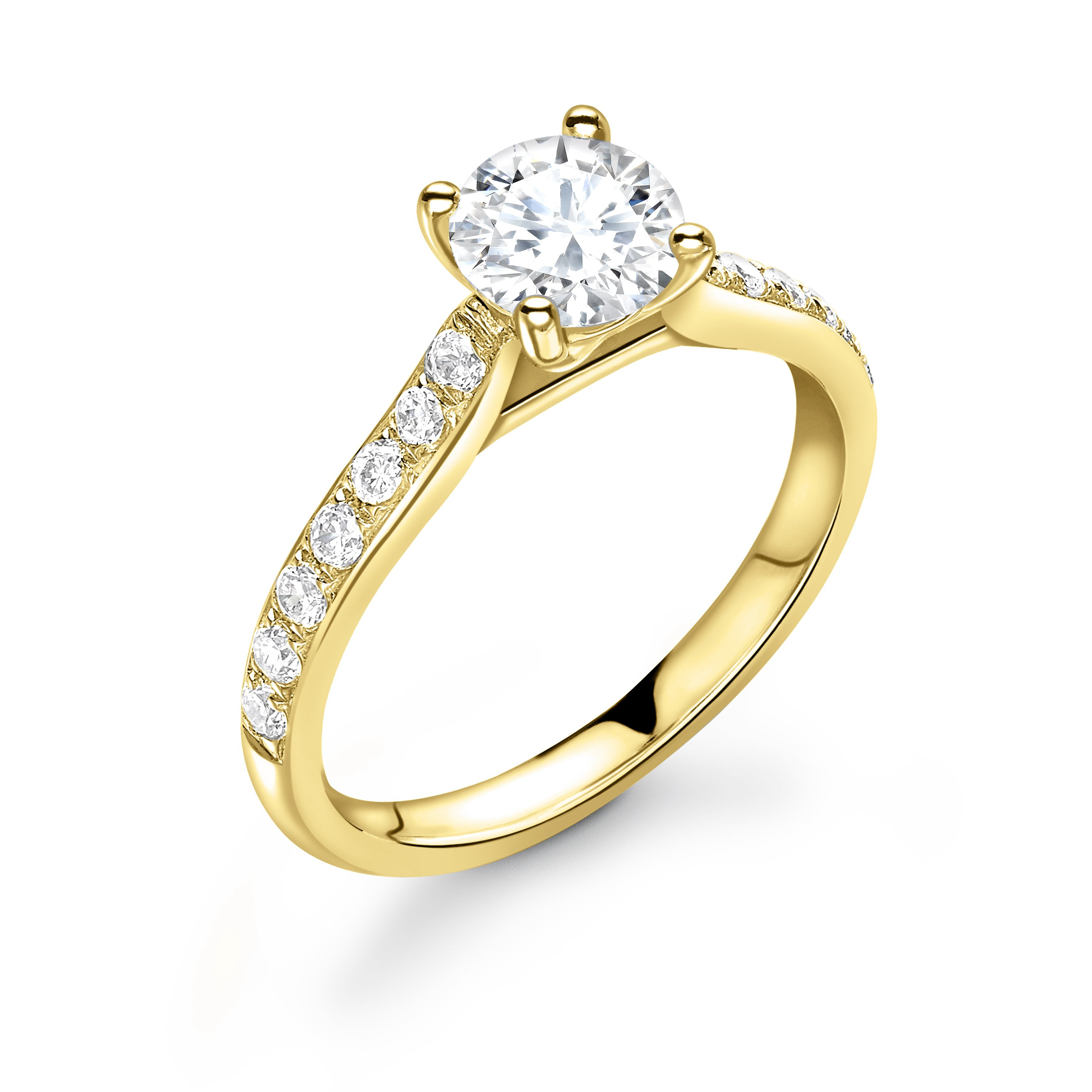 Pave Set Diamonds on Shoulder Side Stone Diamond Engagement Rings