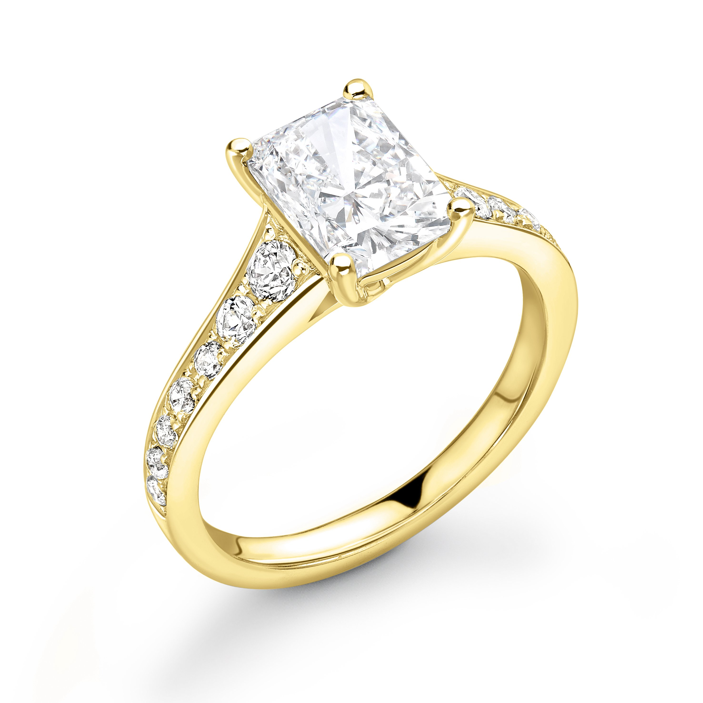 Tapering Up Shoulder Radiant Diamond Engagement Ring in Gold and Platinum