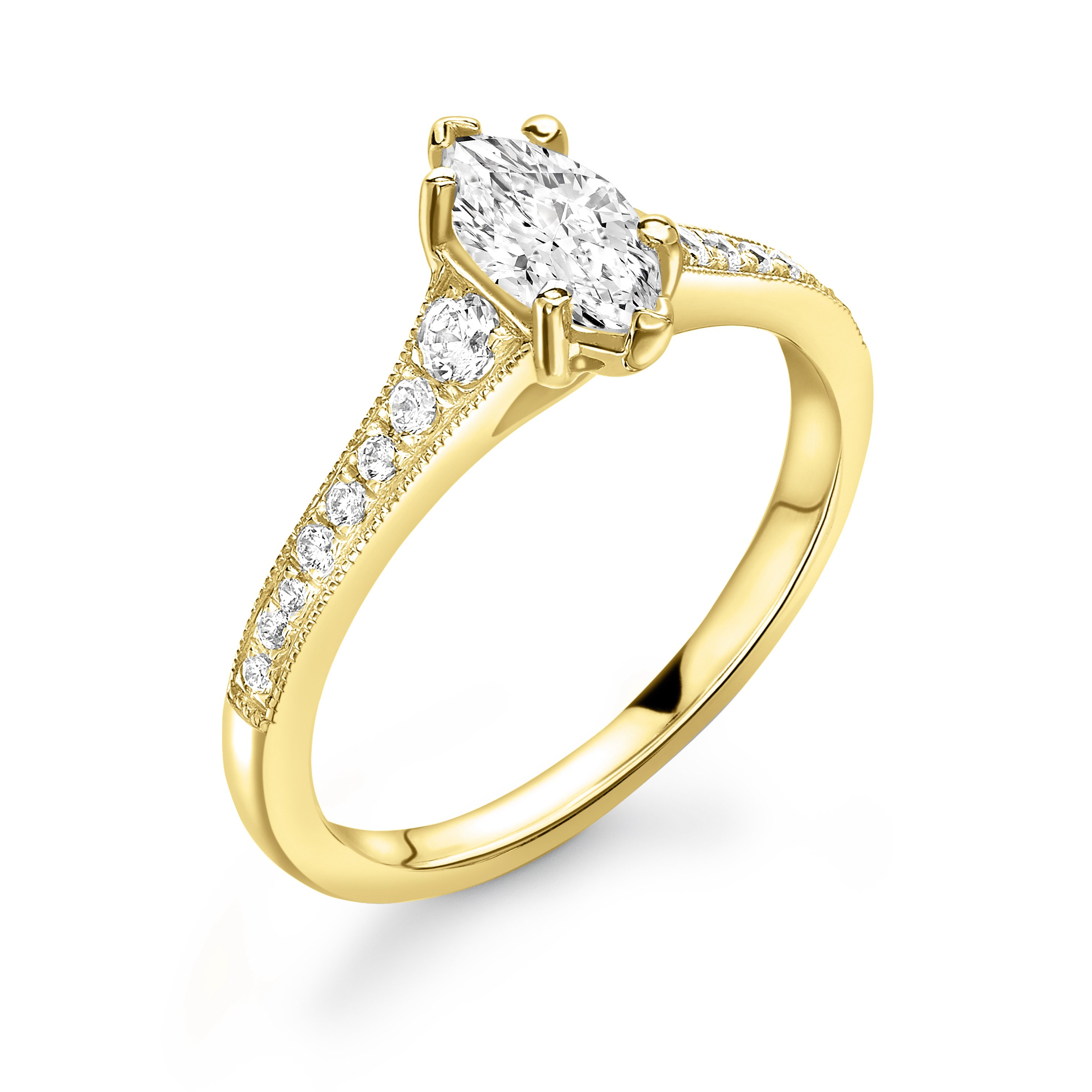 Tapering Up Shoulder Marquise Shape Engagement Ring in Gold and Platinum
