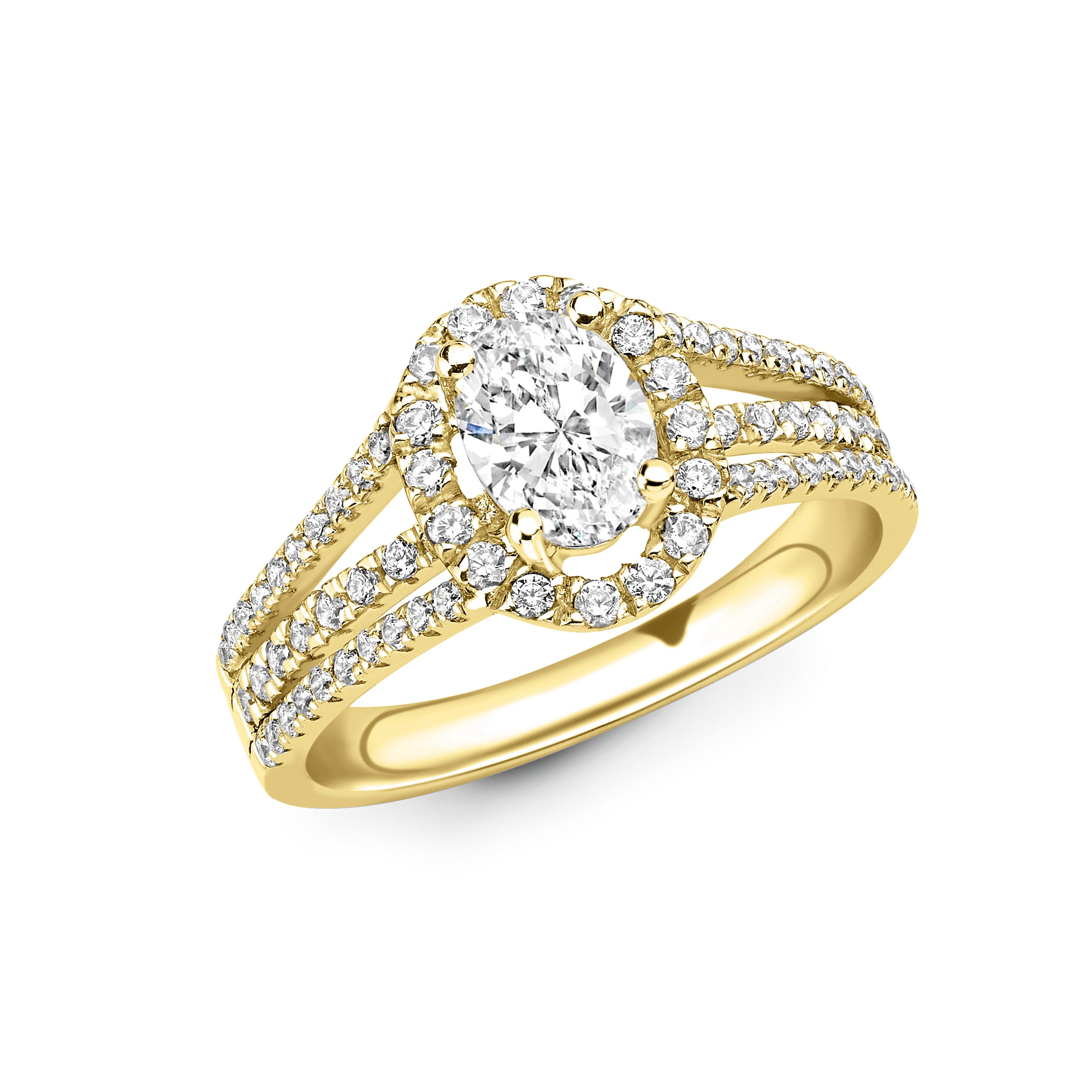 4 Prong Setting Oval Shape 3 Raw Shoulder Halo Diamond Engagement Rings