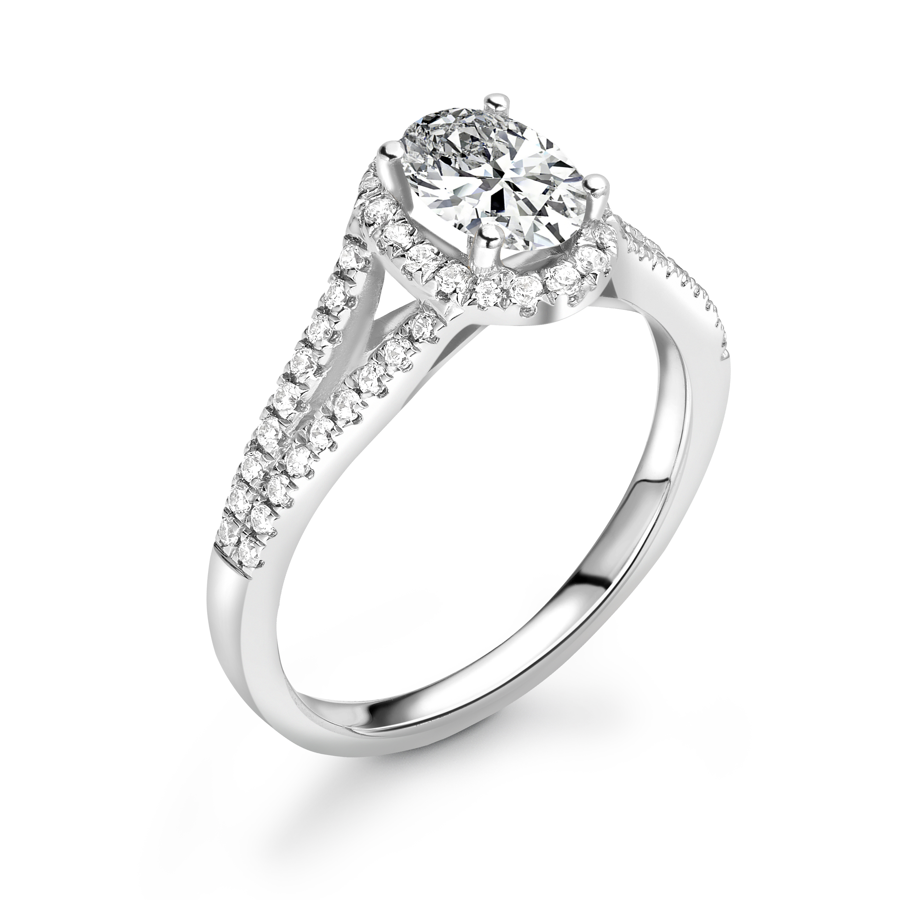 4 Prong Setting Oval Shape 2 Raw Pave Set Shoulder Halo Diamond Engagement Rings