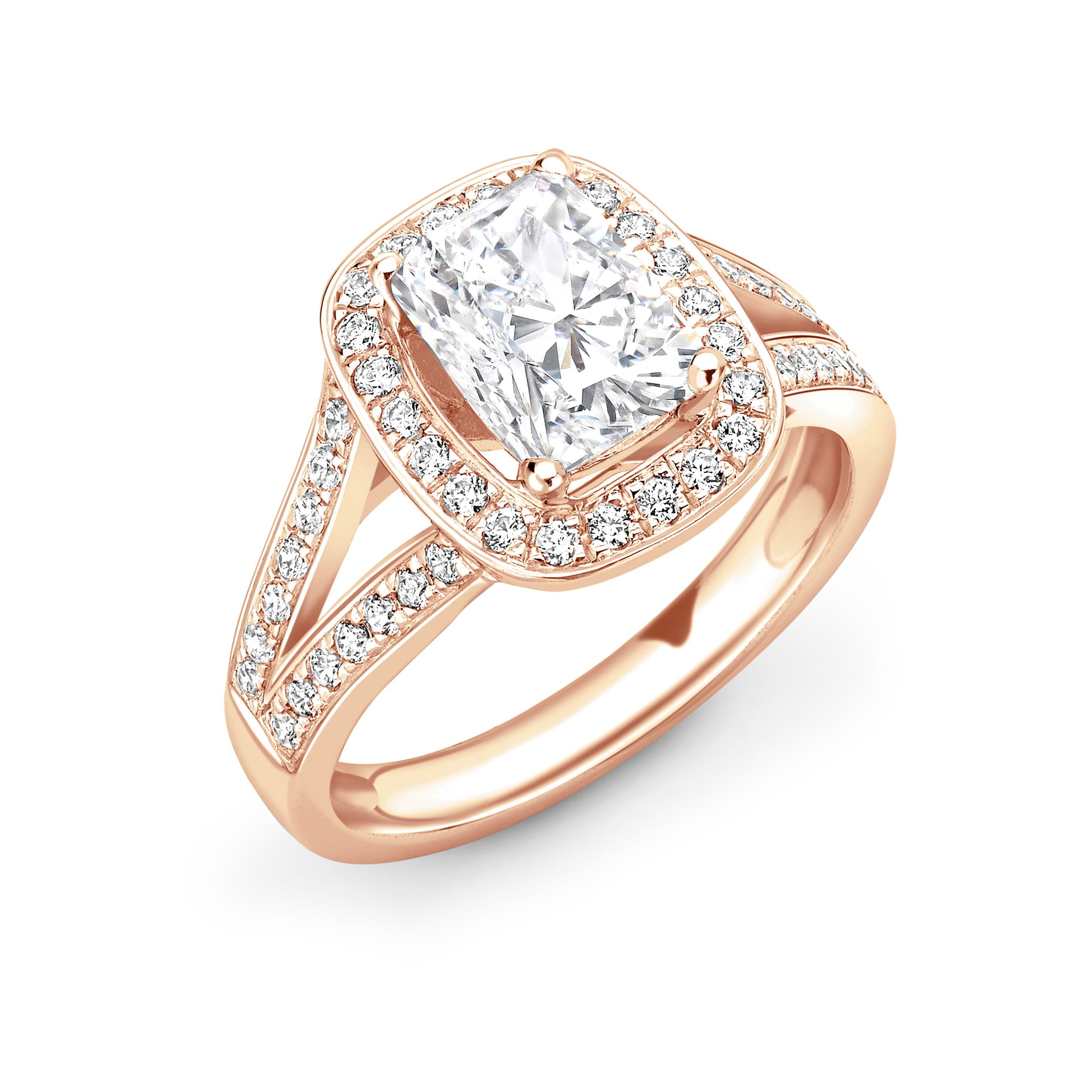 4 Prong Setting Radiant Shape 2 Raw Pave Set Shoulder Halo Diamond Engagement Rings