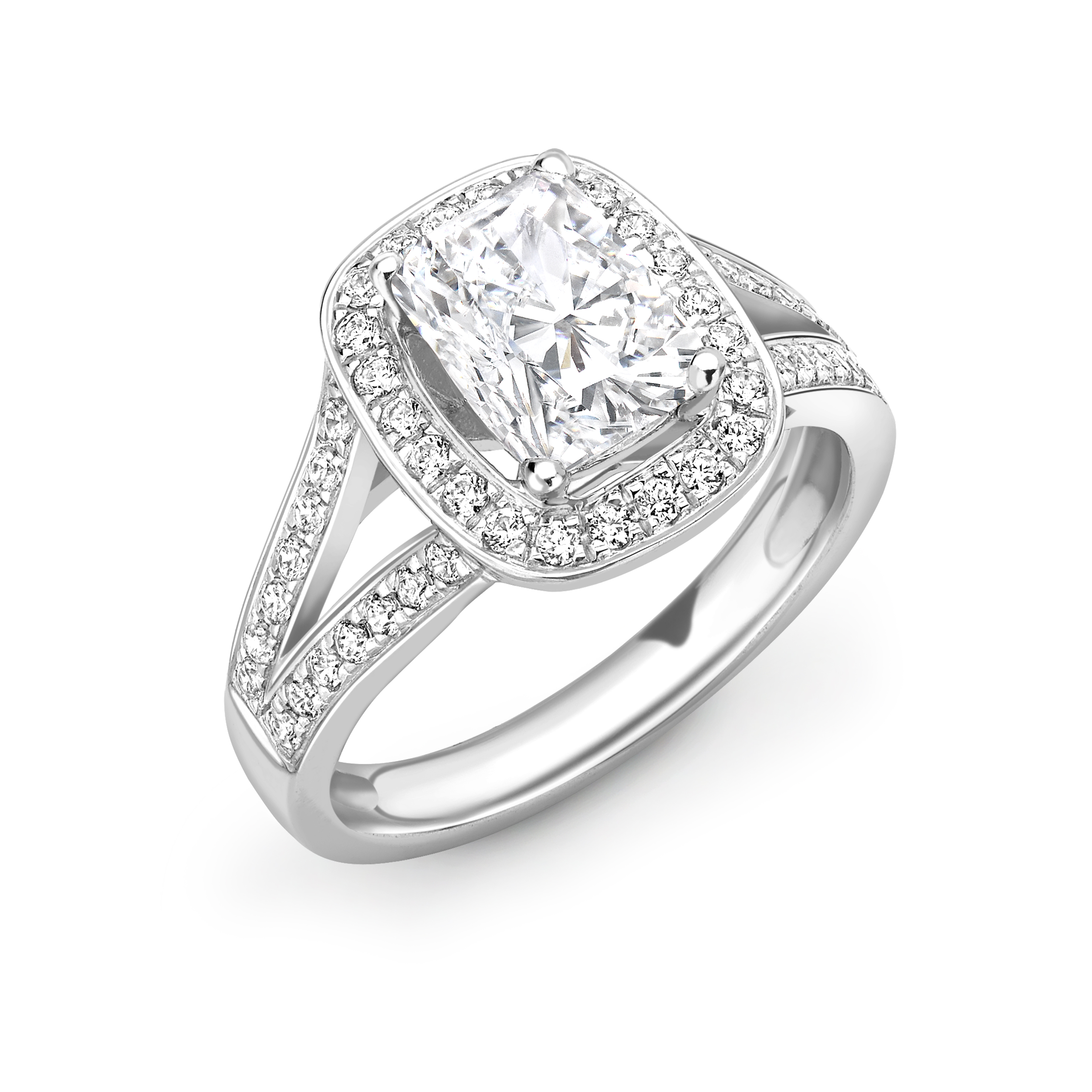 4 Prong Setting Radiant Shape 2 Raw Pave Set Shoulder Halo Diamond Engagement Rings