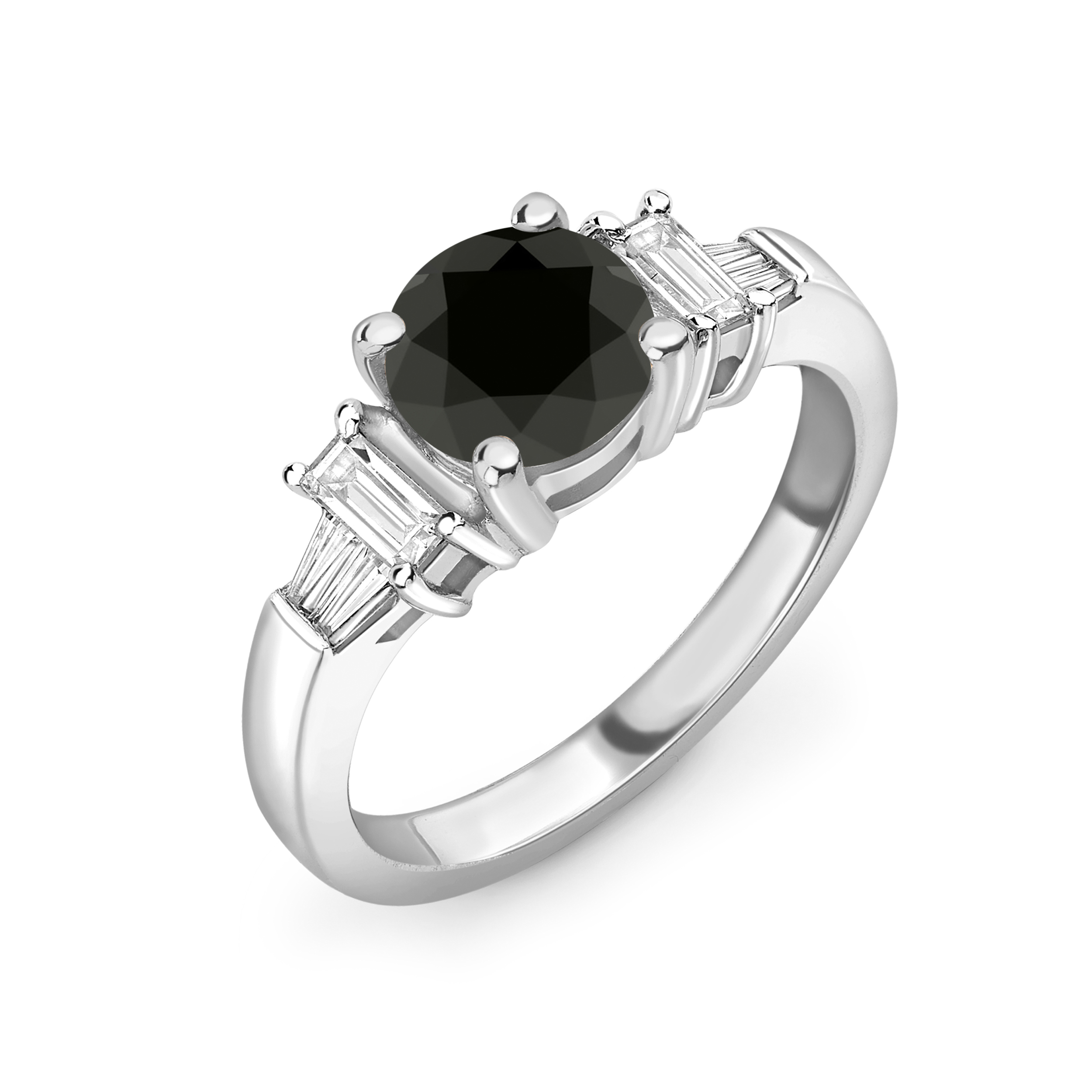 Unique Baguette and Round Diamond Black Diamond Rings for Women