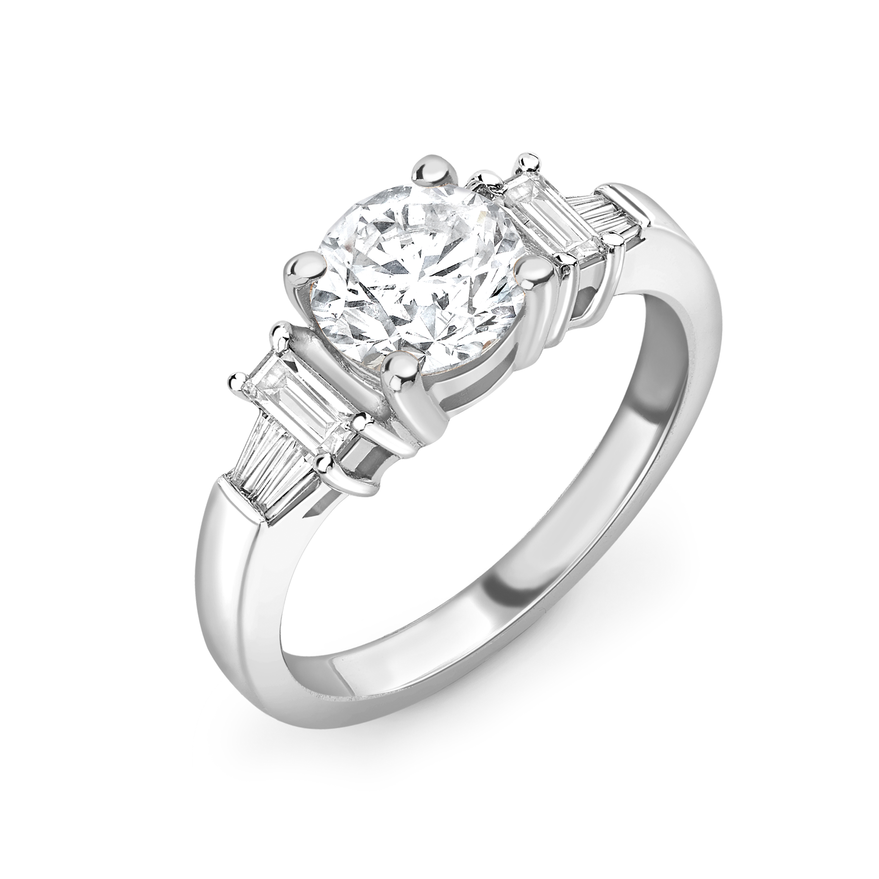 4 Prong Setting Round Shape Unique Baguette Diamond on Shoulder Halo Diamond Engagement Rings