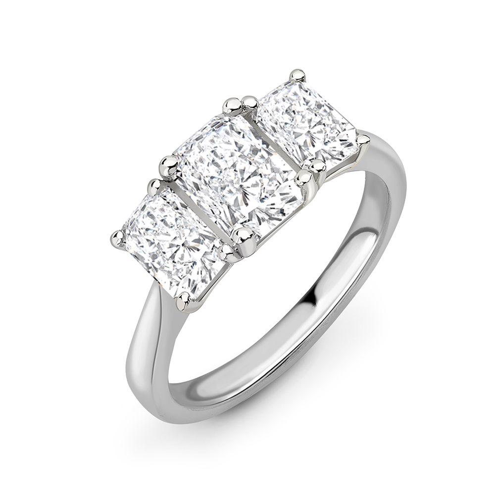 Radiant Cut Diamond Trilogy Engagement Rings for Women
