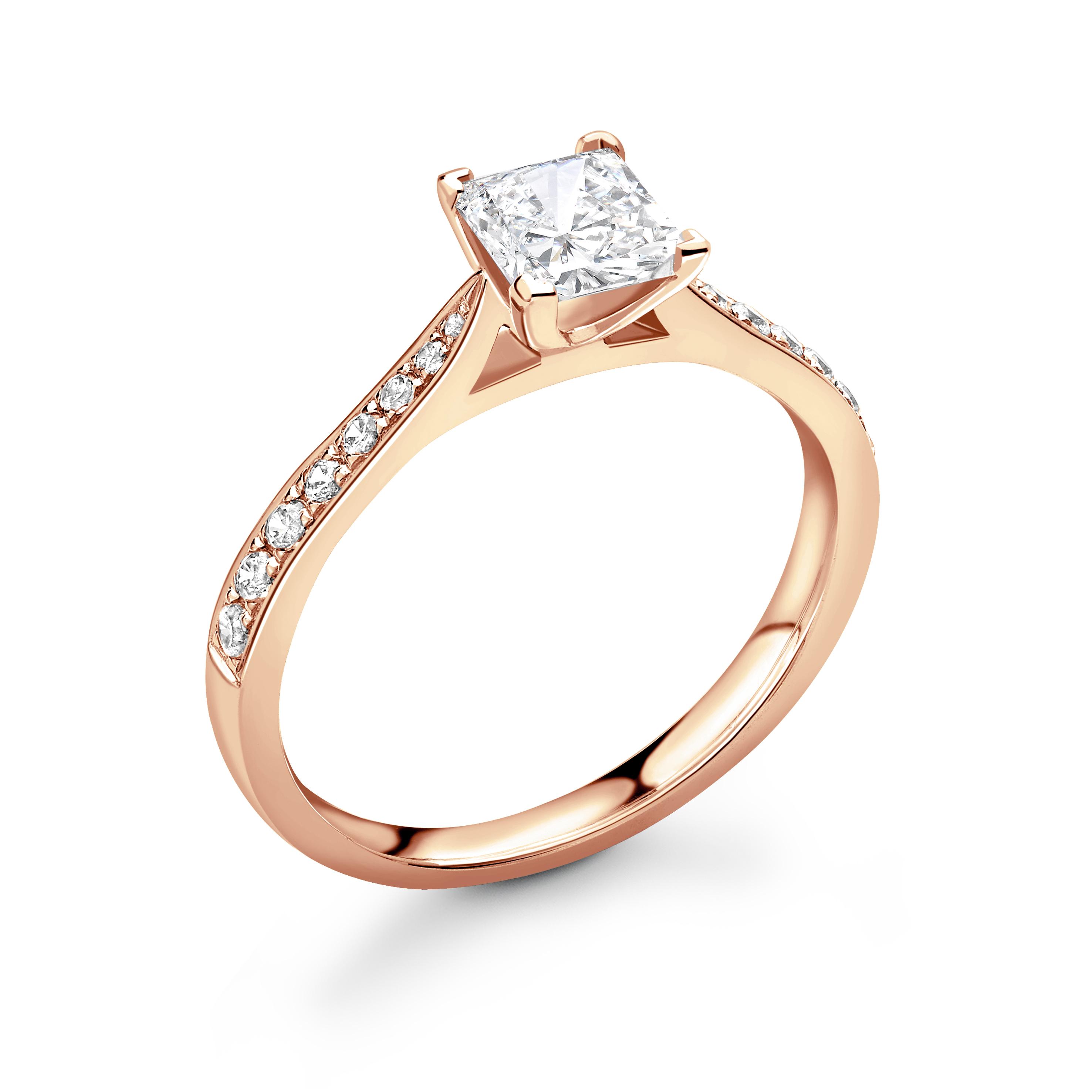 Delicate Tapering Down Shoulder Set Princess Diamond Engagement Ring