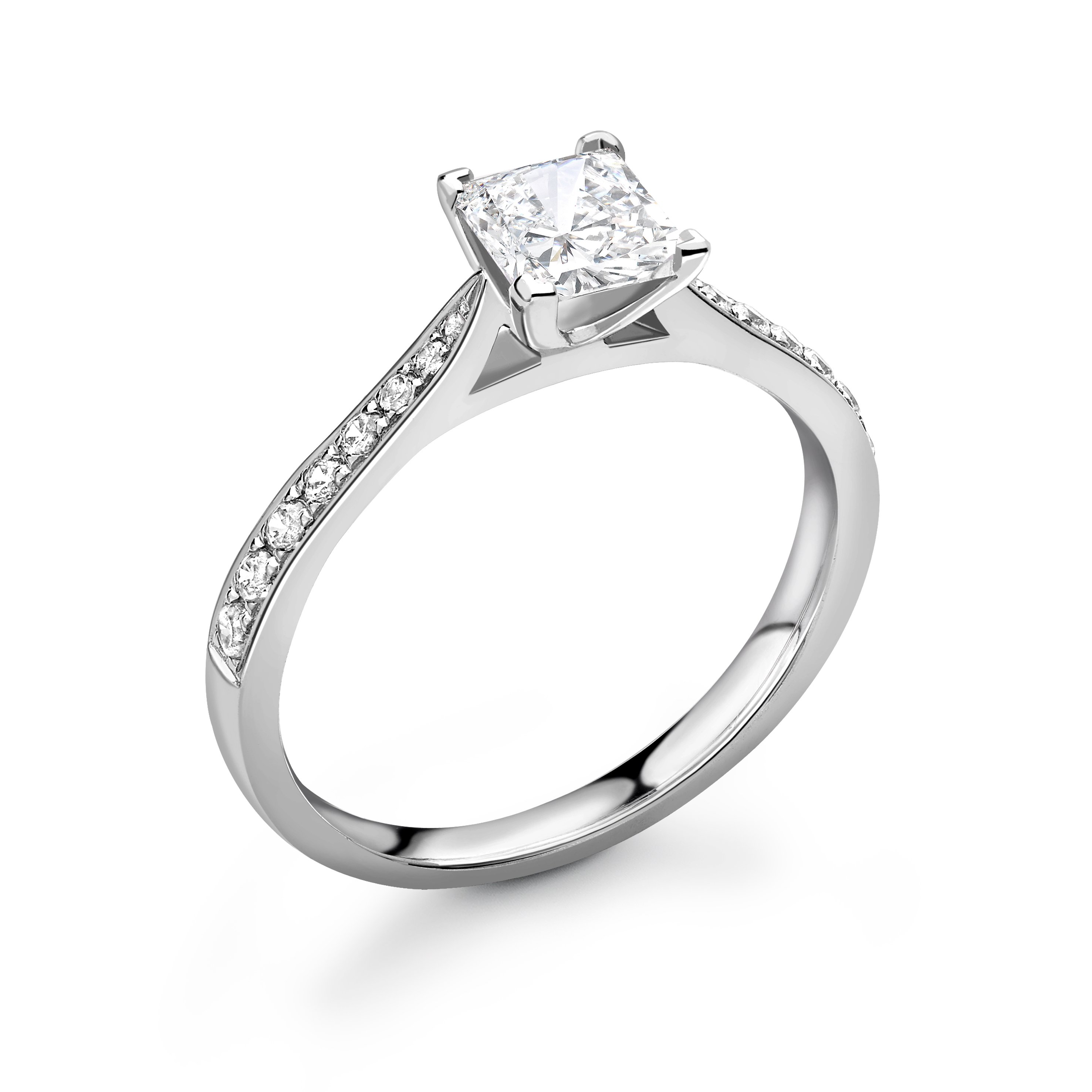Delicate Tapering Down Shoulder Set Princess Diamond Engagement Ring