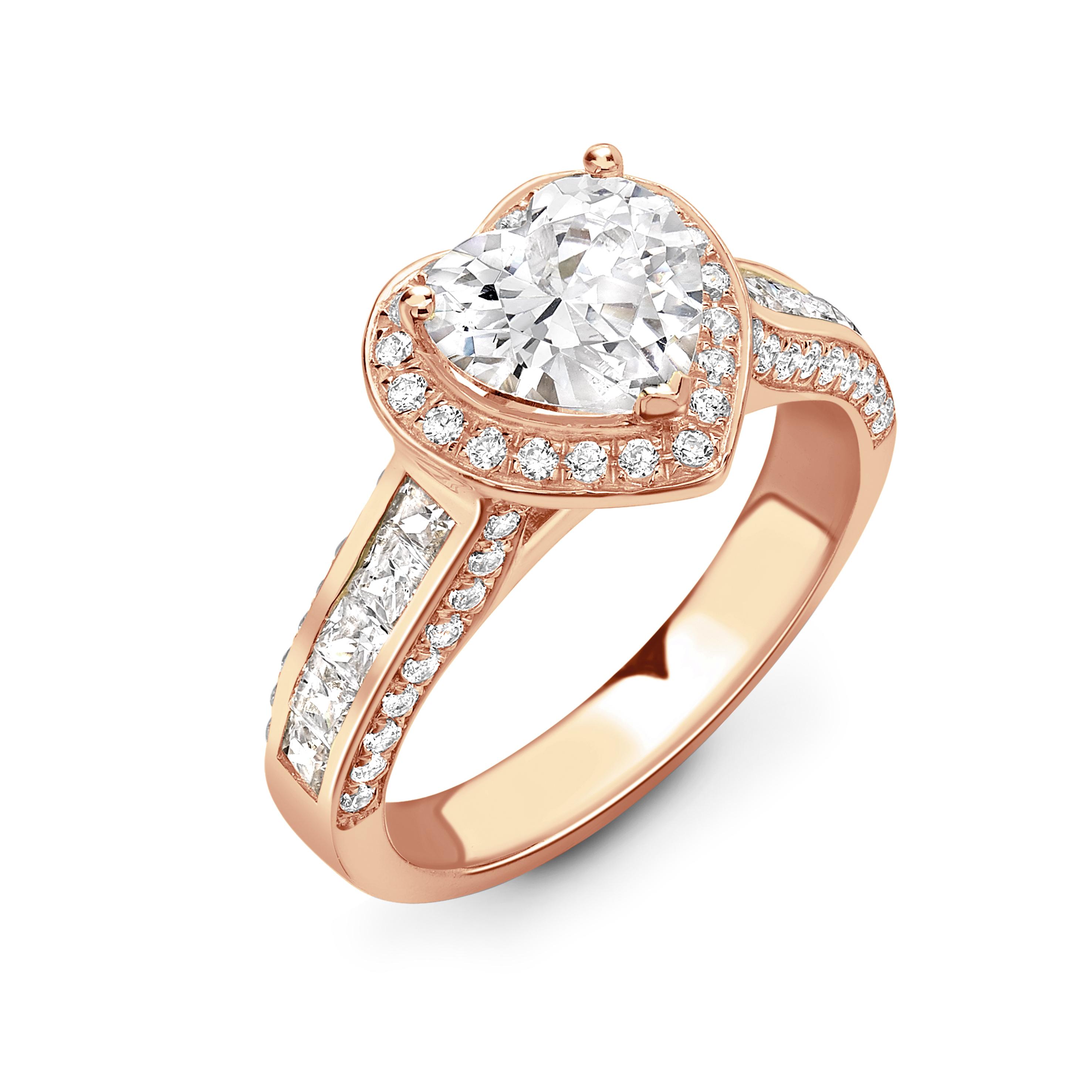 072849c72f4c7 Buy Round Shape Unique Baguette Diamond on Shoulder Halo Diamond ...