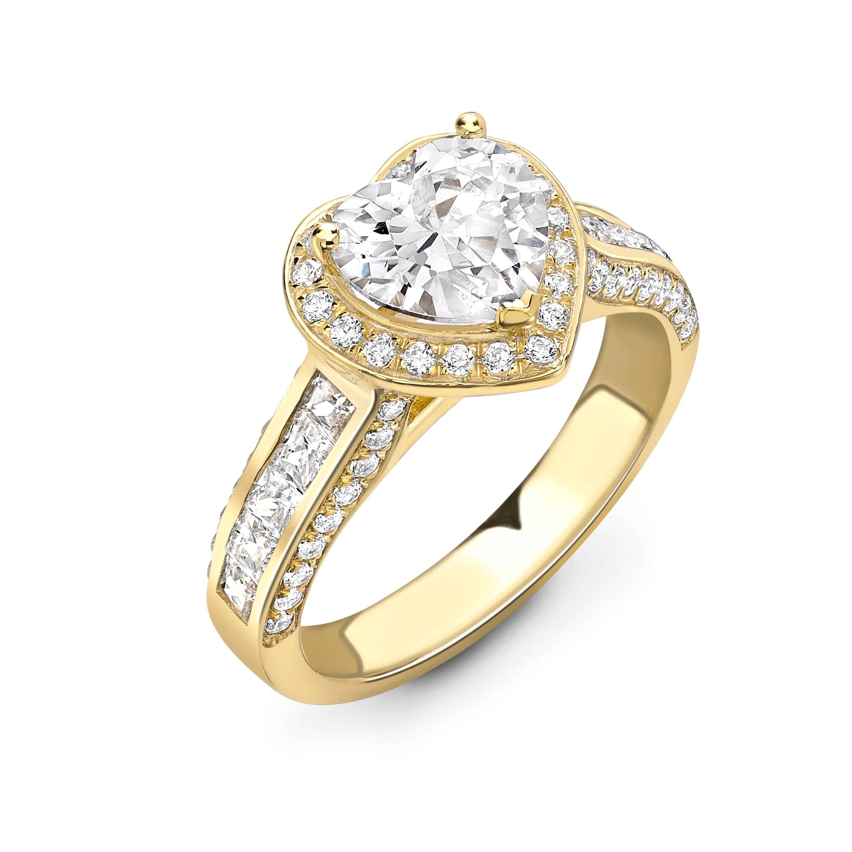 4 Prong Setting Heart Shape Vintage Style Halo Diamond Engagement Rings