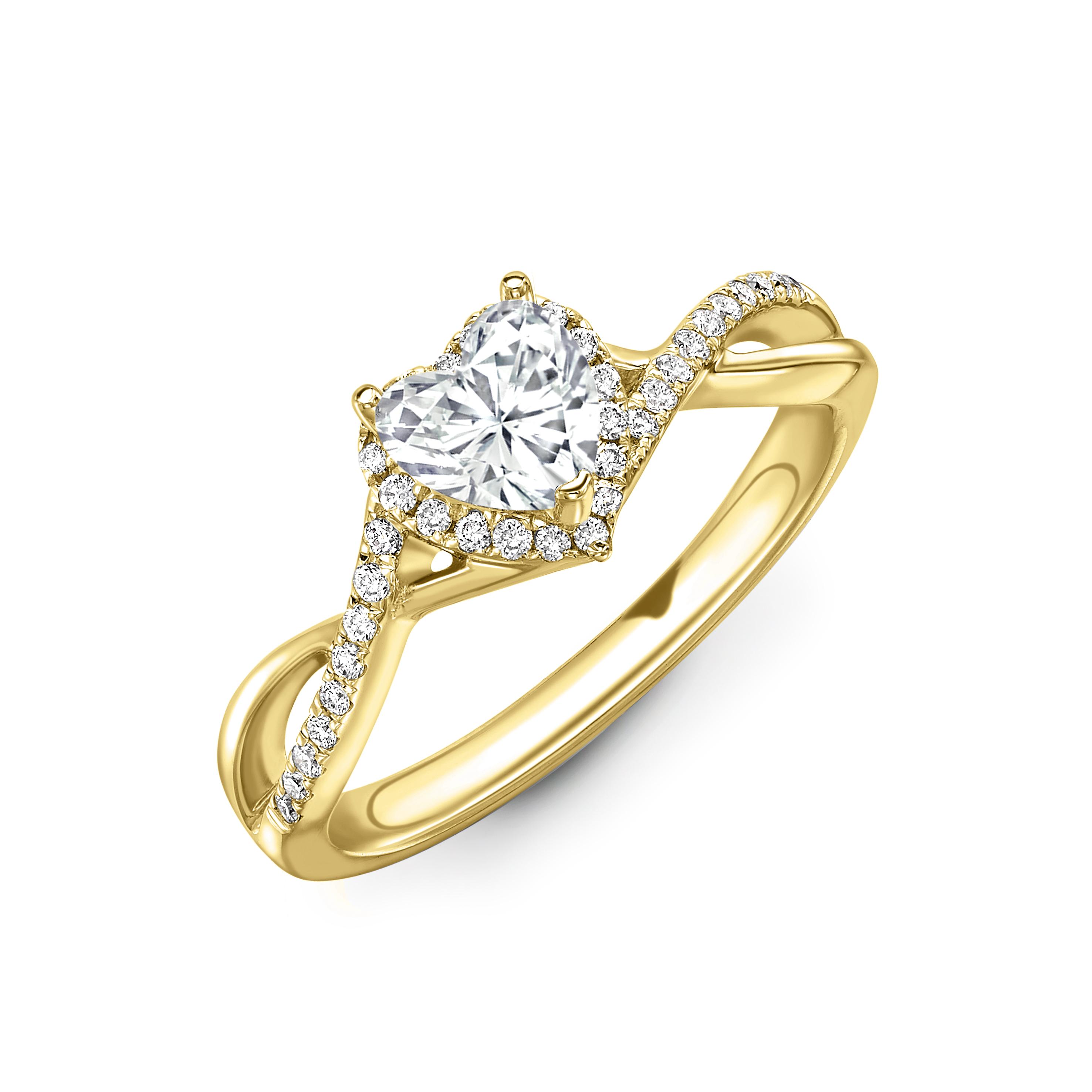 4 Prong Setting Heart Shape Intervene Shoulder Halo Diamond Engagement Rings
