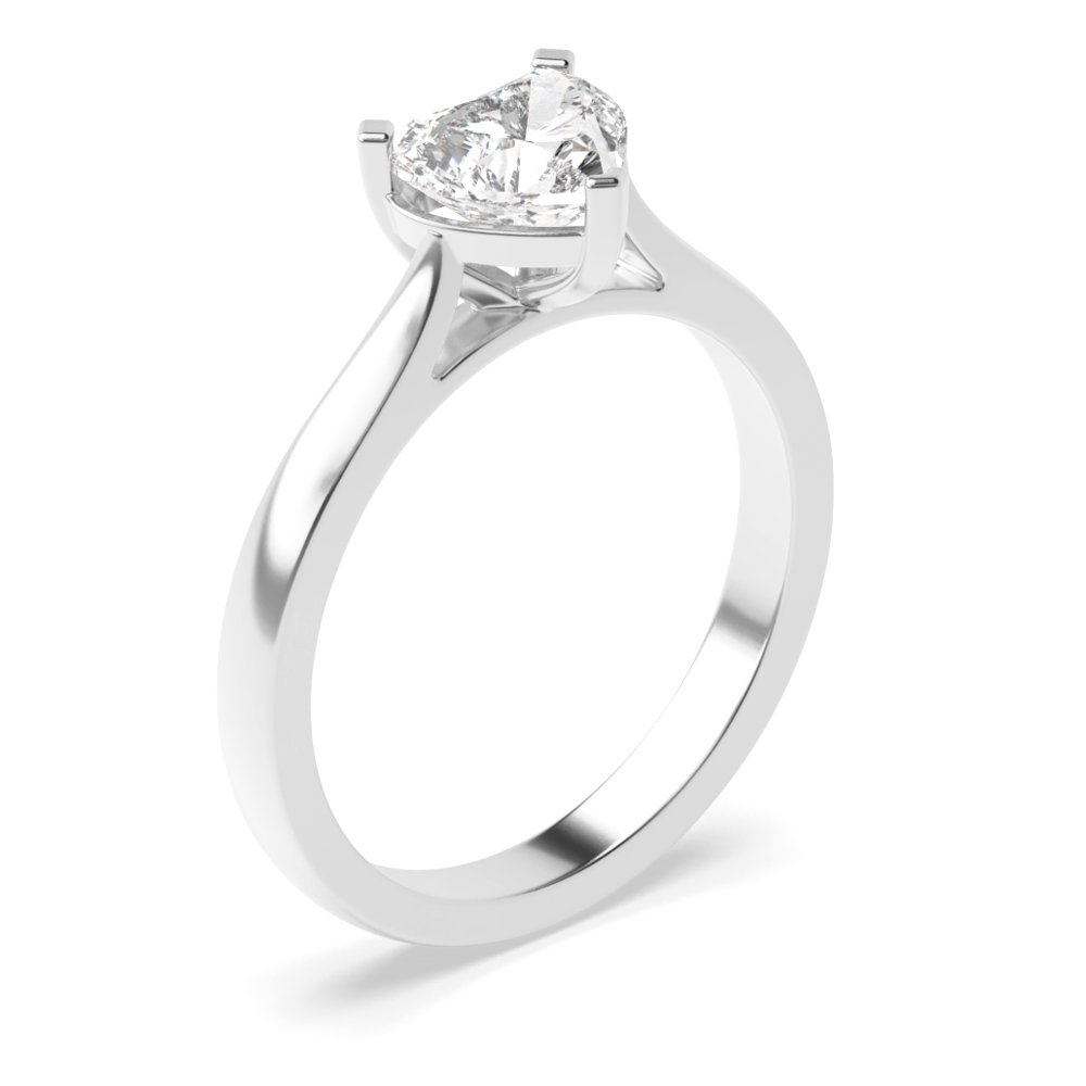 Three Claws Heart Shape Solitaire Diamond Engagement Rings