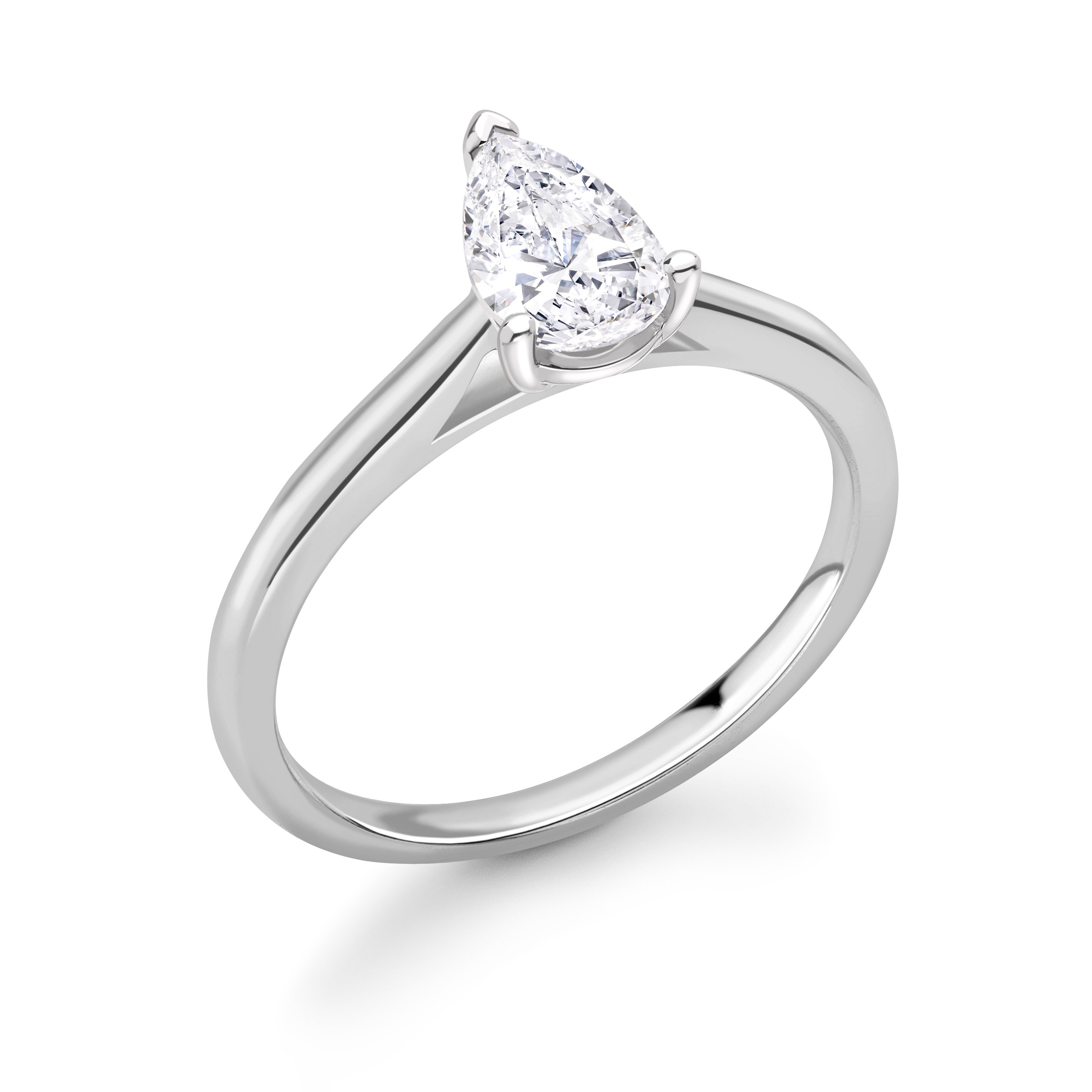 Classic Setting Pear Shape Solitaire Diamond Engagement Rings