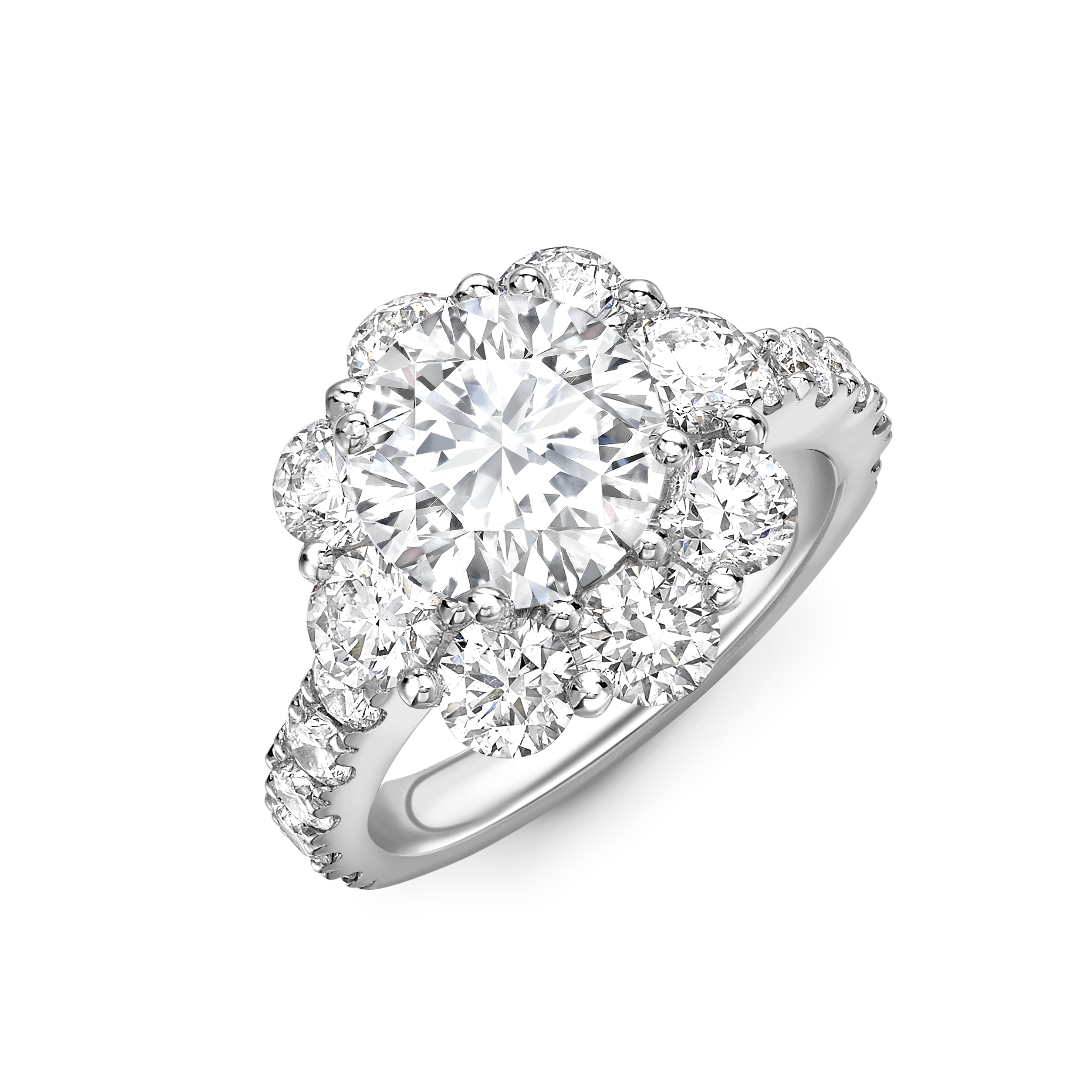 4 Prong Setting Round Shape Exclusive Luxurious Halo Diamond Engagement Rings