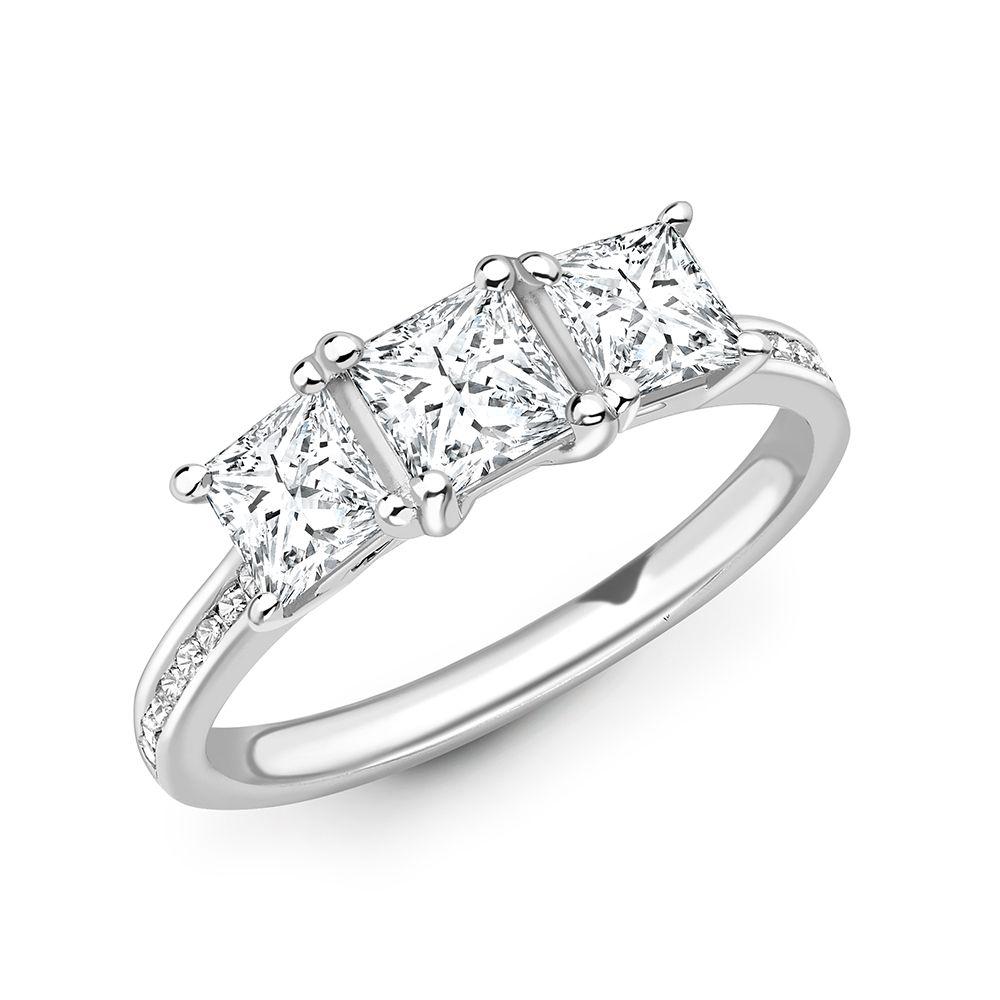 Princess Cut Diamond Trilogy Engagement Rings with Diamond on Shoulder