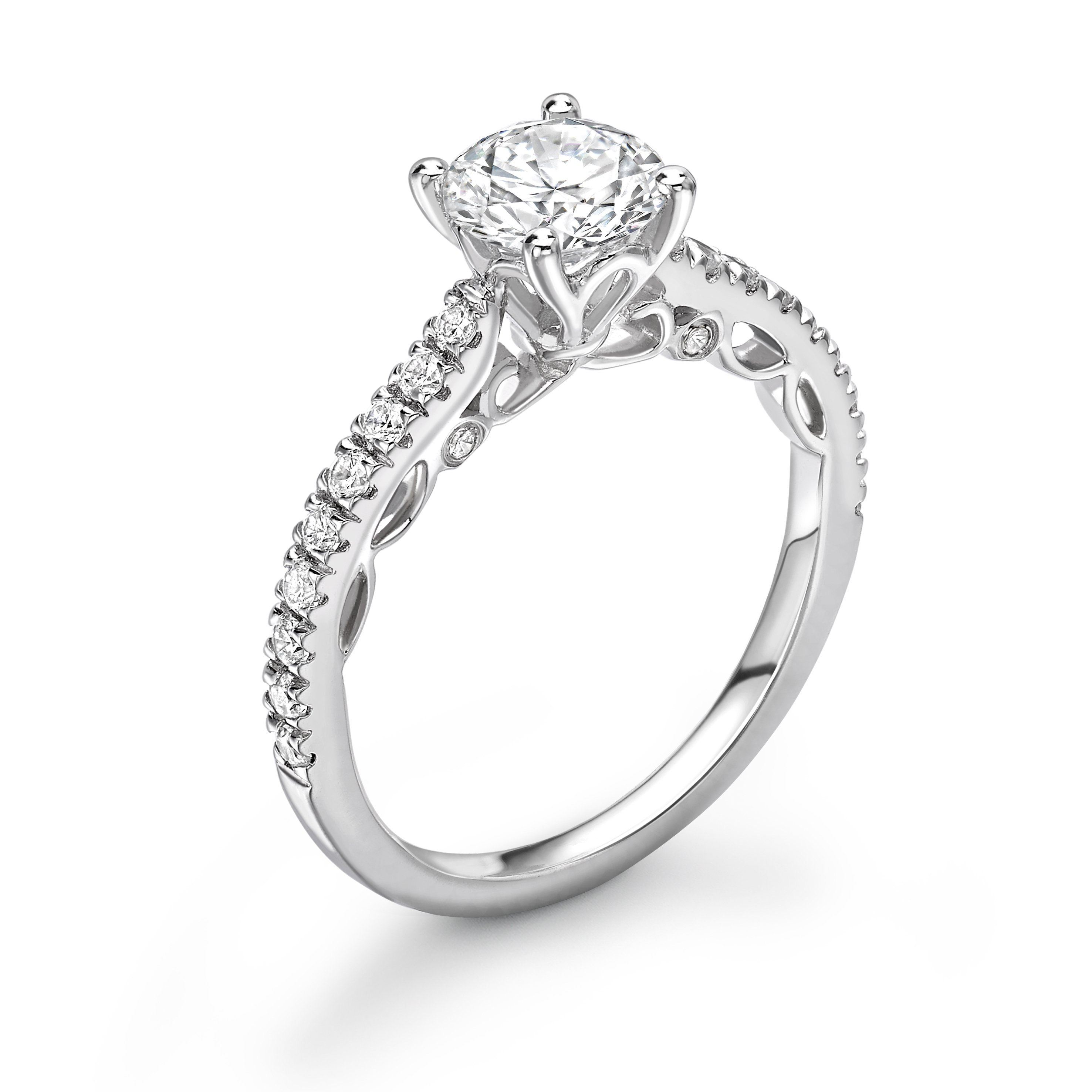 Vintage Style Antique Designer Side Stone Diamond Engagement Rings