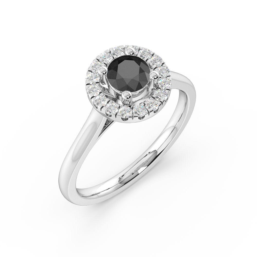 Prong Setting Black Diamond Halo Engagement Ring
