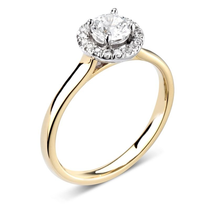 Prong Setting Round Diamond Halo Engagement Ring
