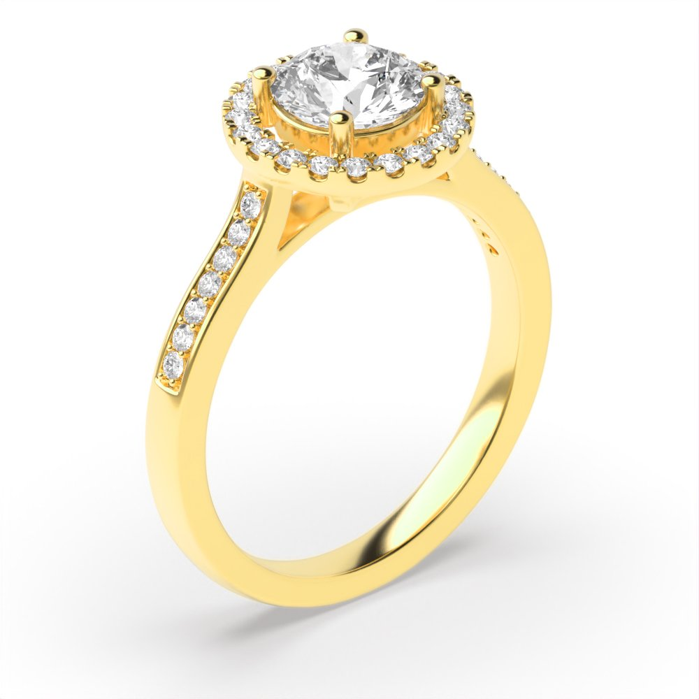 Prong Setting Diamond Halo Engagement Ring