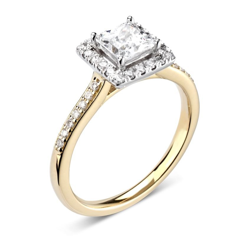 Side Stone Set Princess Diamond Halo Engagement Ring
